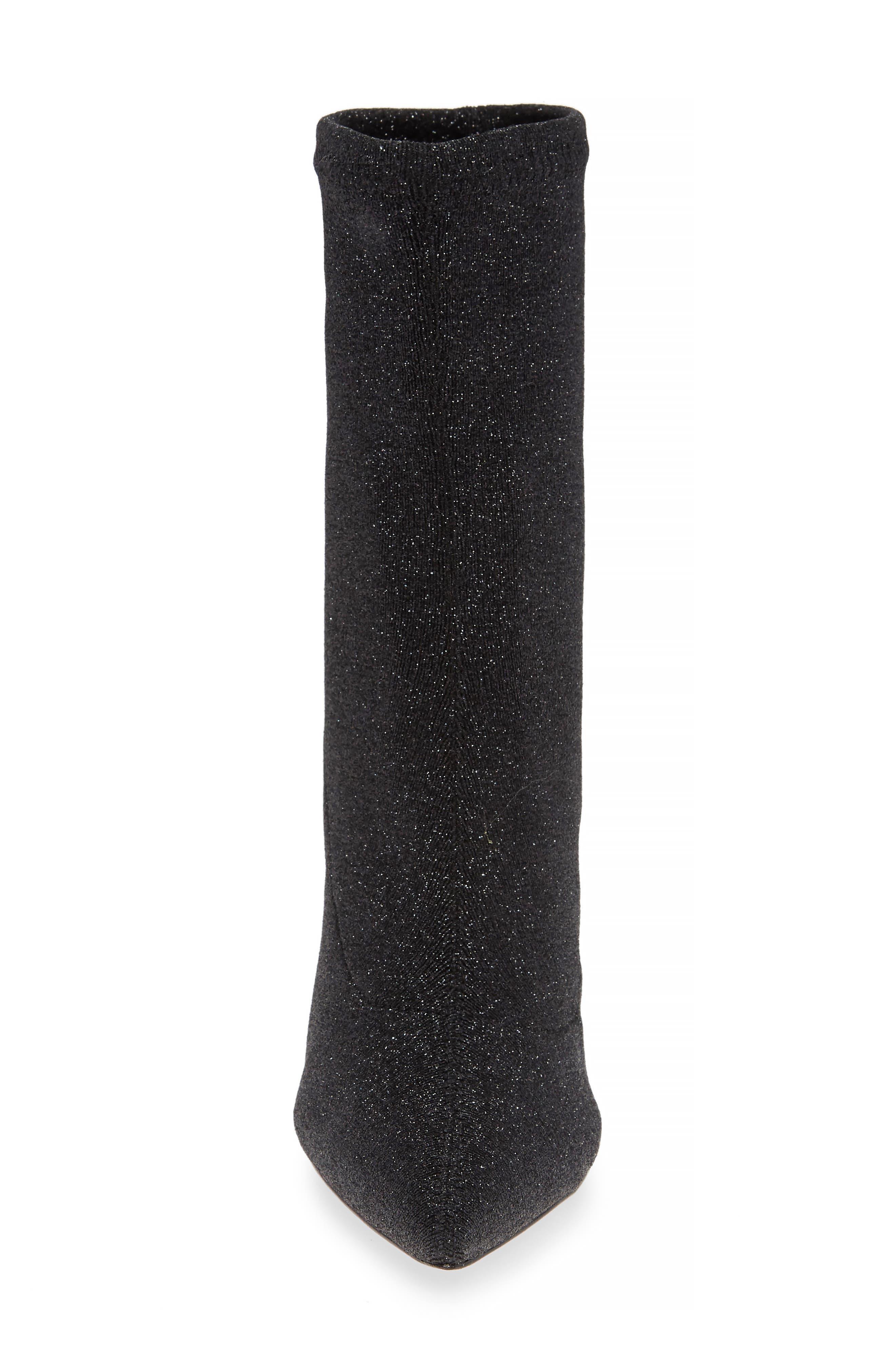 Sciarpe Glitter Sock Bootie,                             Alternate thumbnail 4, color,                             BLACK