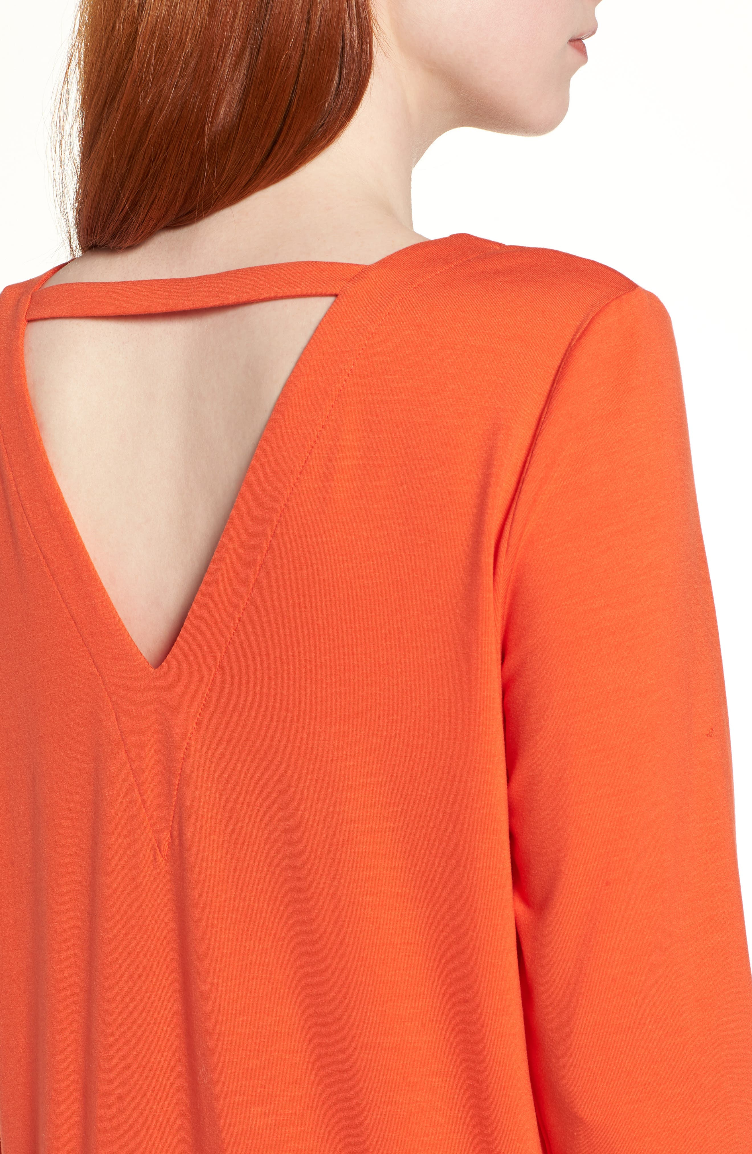 V-Back Stretch Tencel<sup>®</sup> Lyocell Shift Dress,                             Alternate thumbnail 9, color,