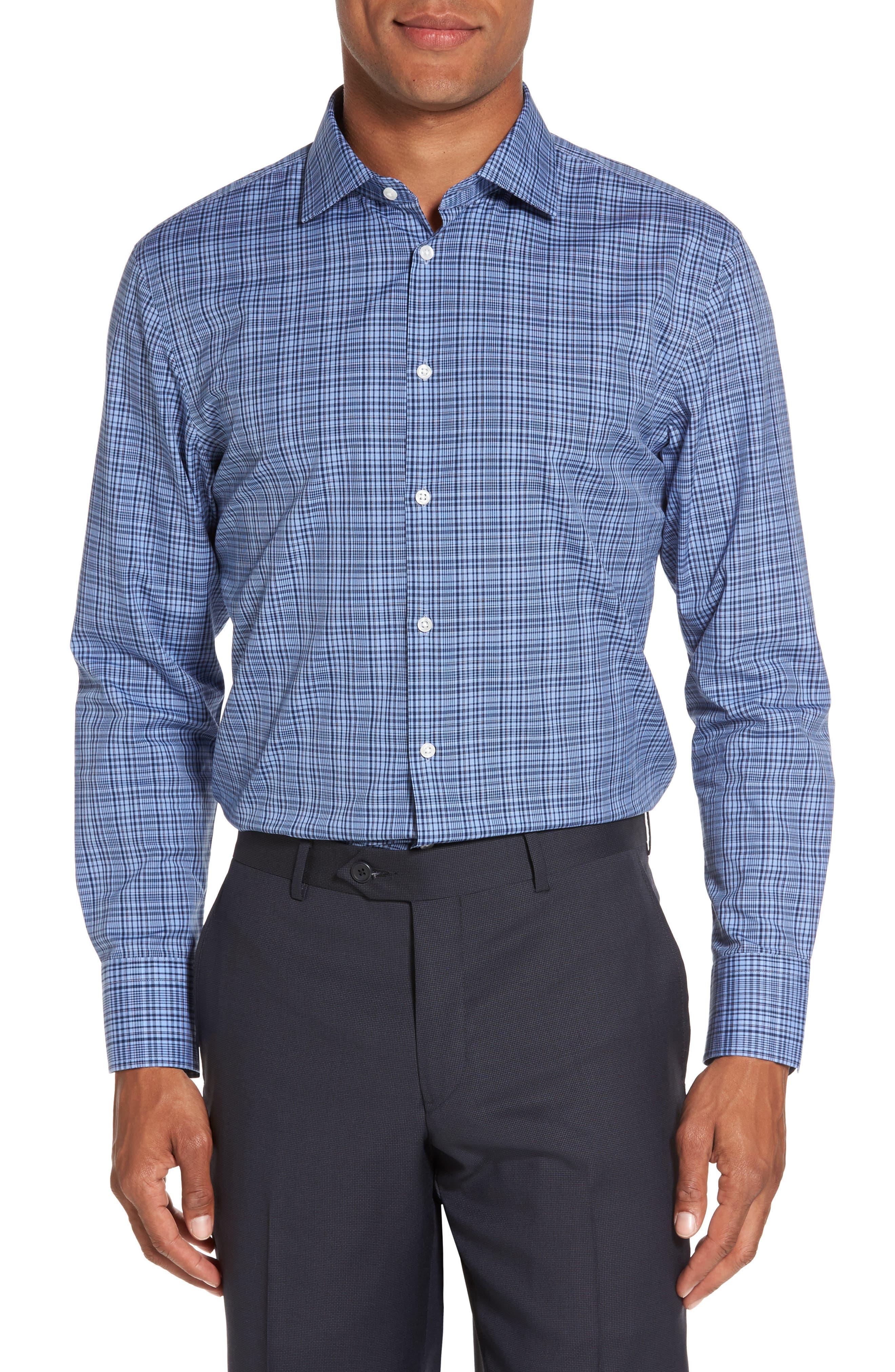 Smartcare<sup>™</sup> Extra Trim Fit Check Dress Shirt,                         Main,                         color,