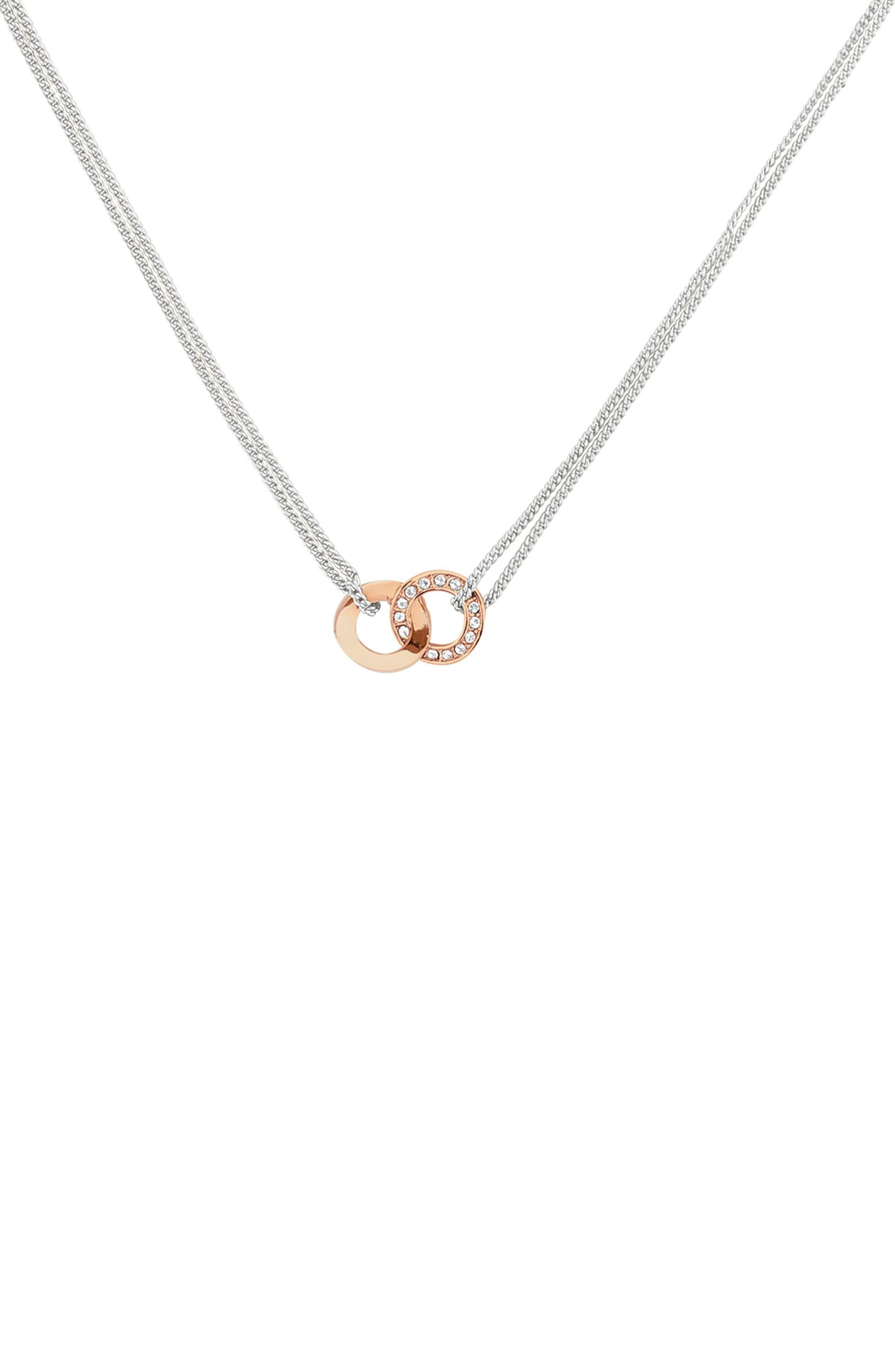 Interlocking Ring Dual Strand Necklace,                             Main thumbnail 1, color,                             SILVER/ ROSE GOLD