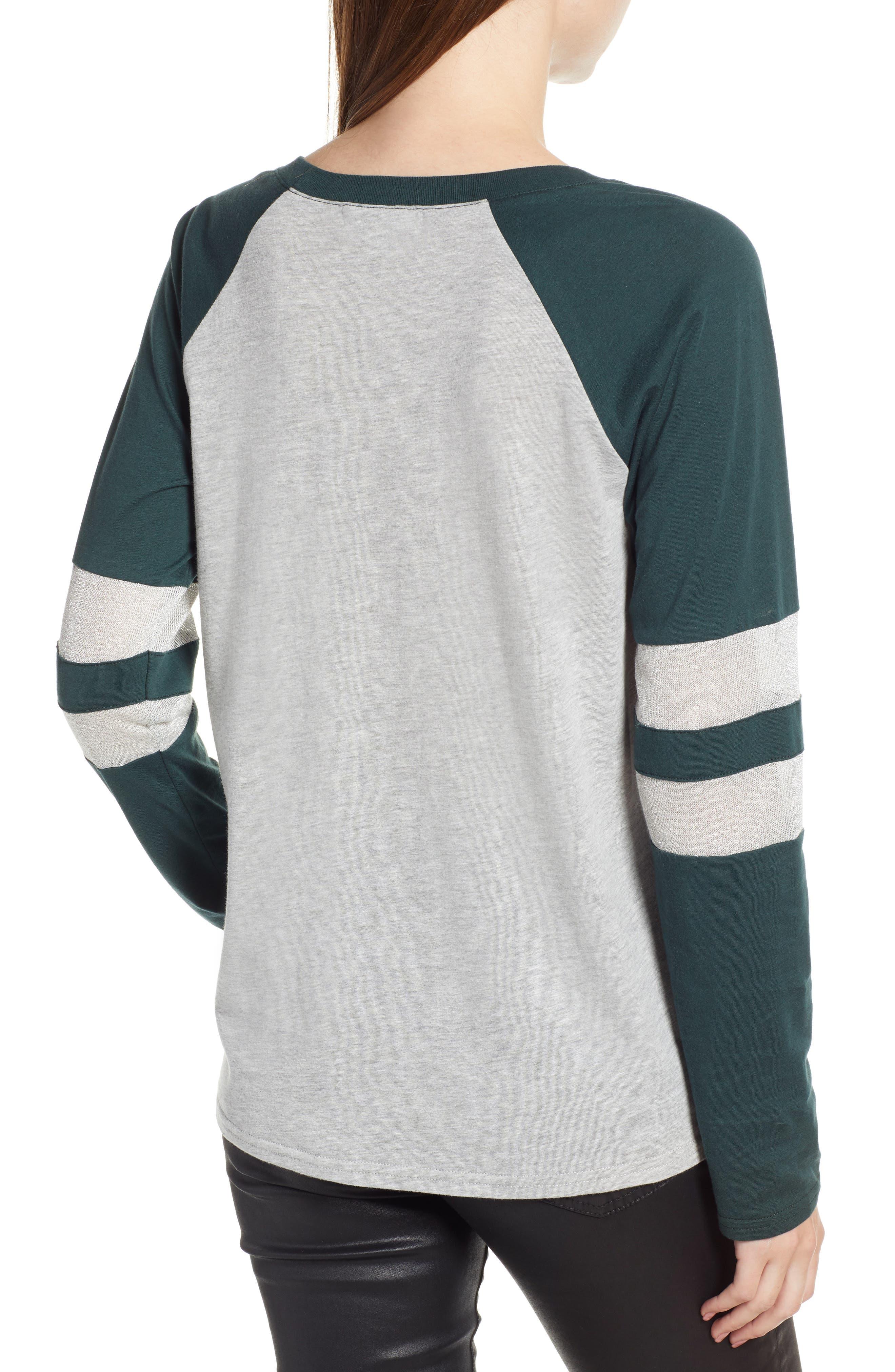 Colorblock Cotton Blend Raglan Top,                             Alternate thumbnail 2, color,                             GREY- GREEN GABLES COMBO