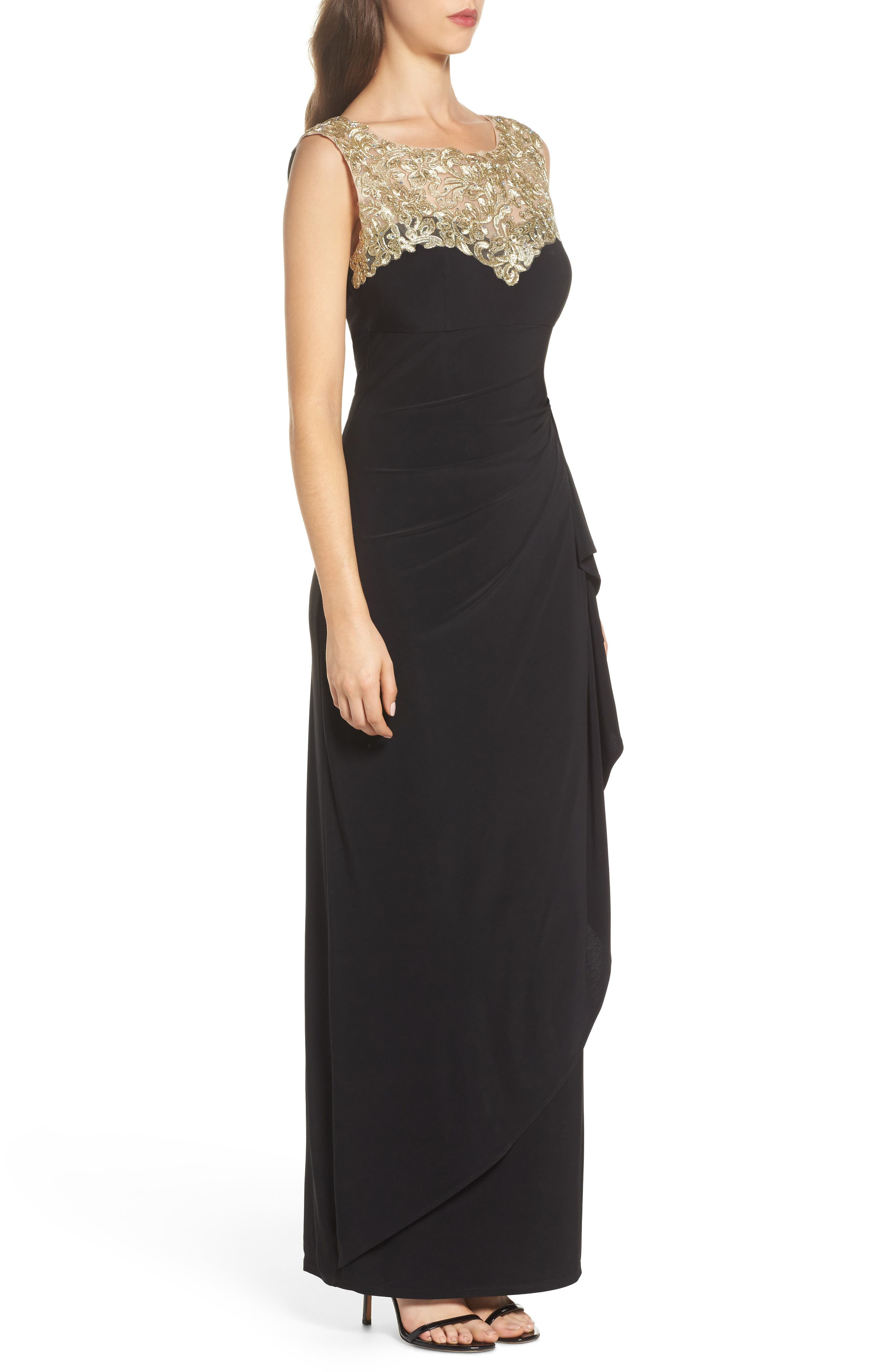 Embroidered Side Ruched Gown,                             Alternate thumbnail 3, color,                             003