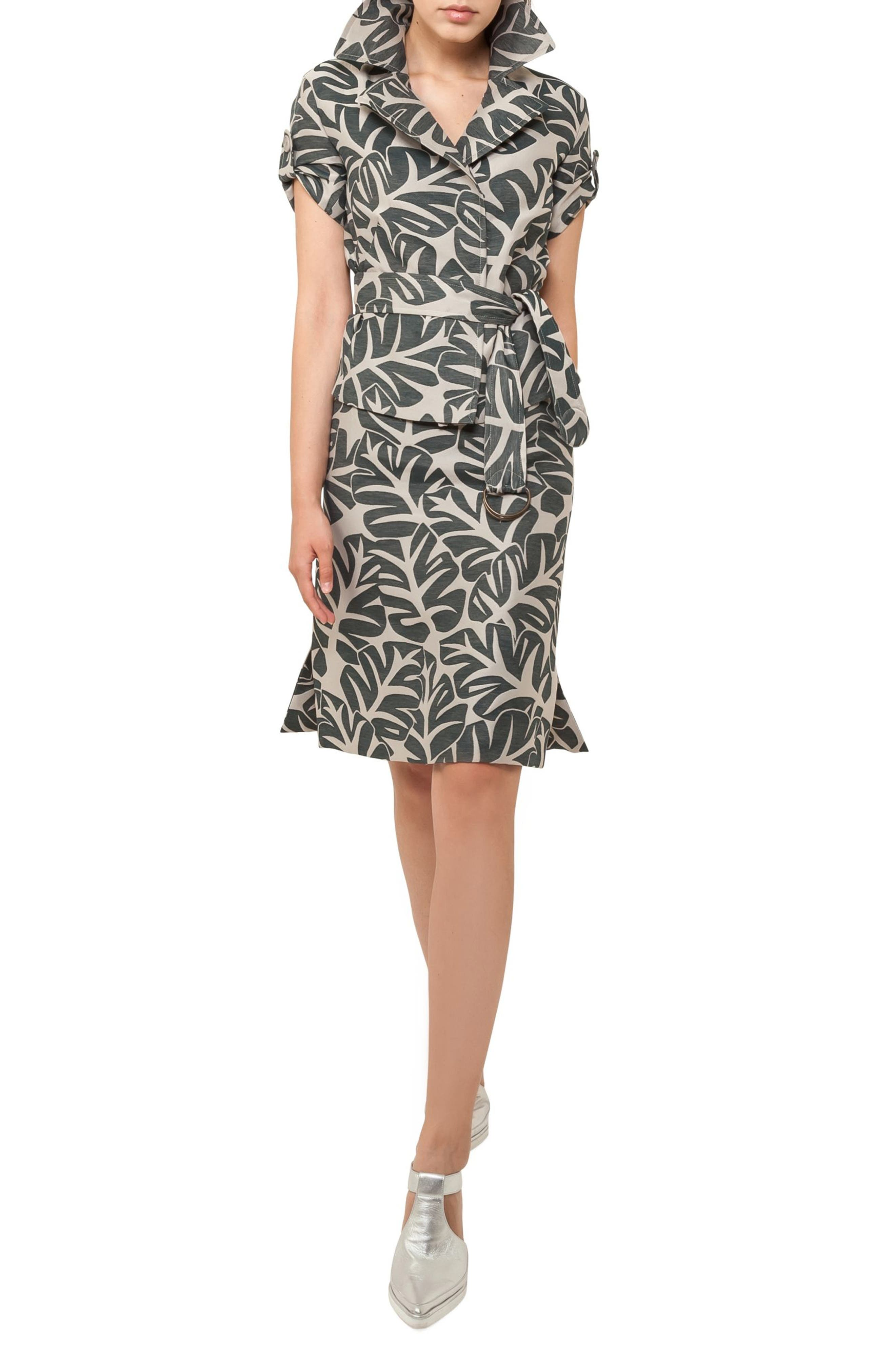 Tropical Leaf Pattern A-Line Skirt,                             Main thumbnail 1, color,                             253