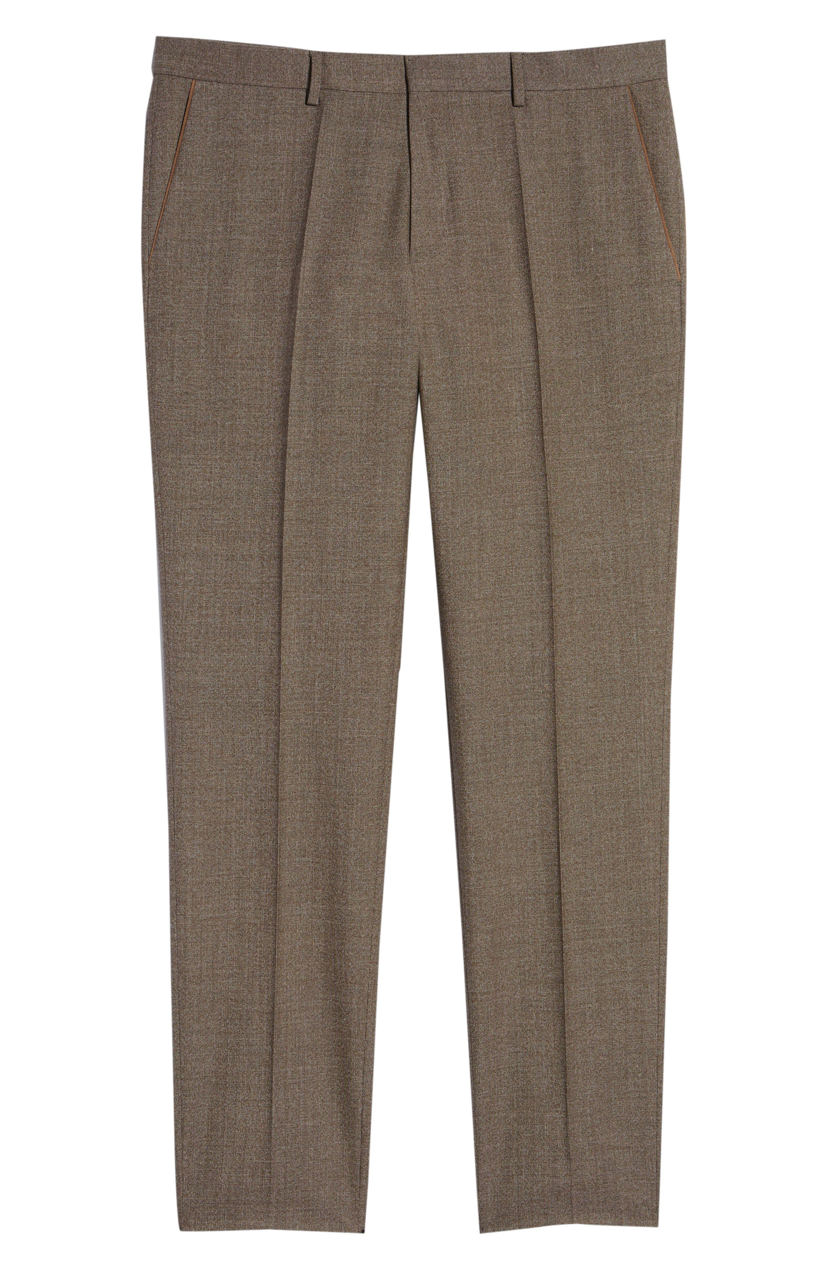 Giro Flat Front Solid Wool & Cotton Trousers,                             Alternate thumbnail 6, color,                             LIGHT/ PASTEL BROWN