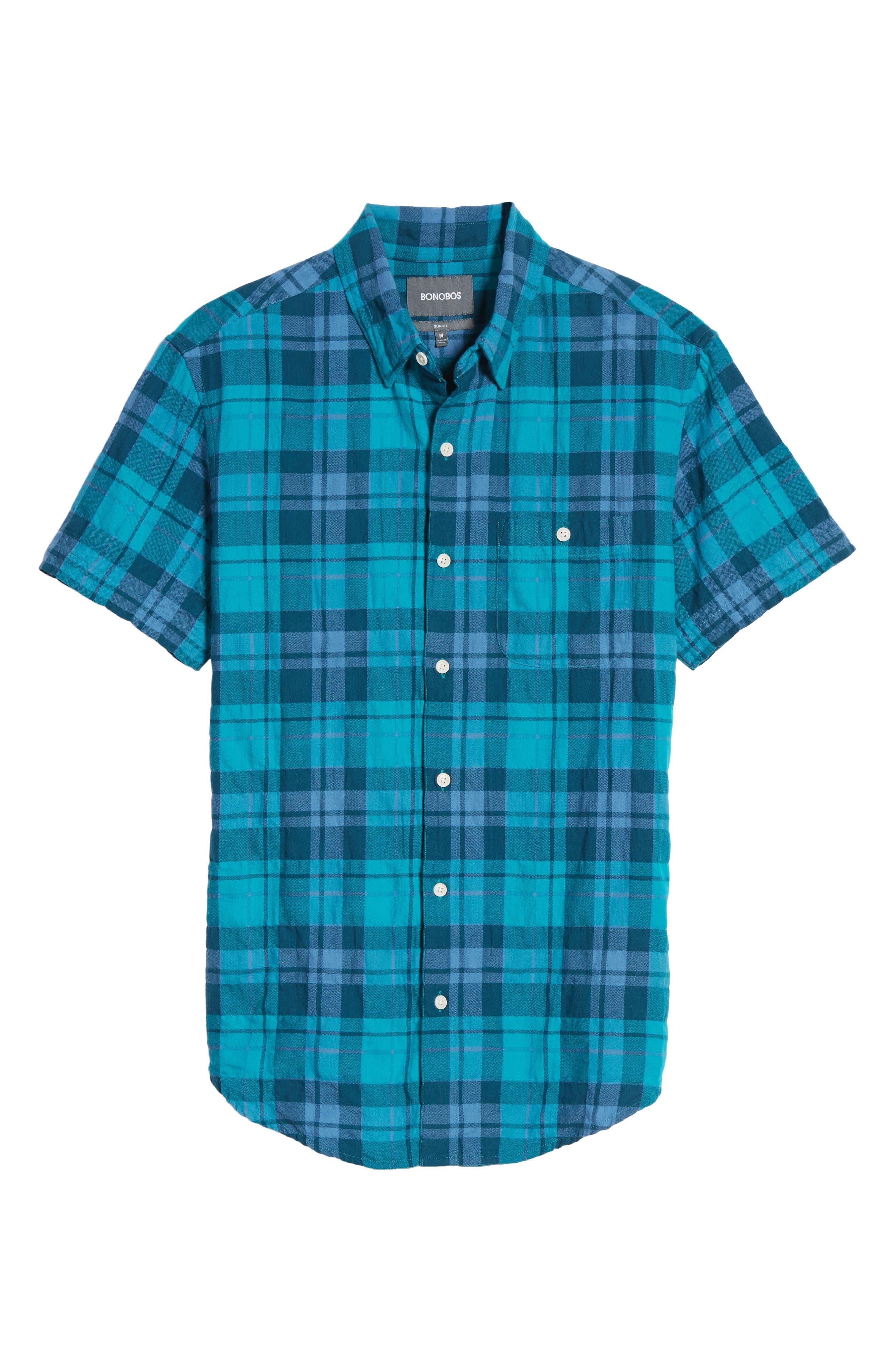 Riveria Slim Fit Check Woven Shirt,                             Alternate thumbnail 6, color,