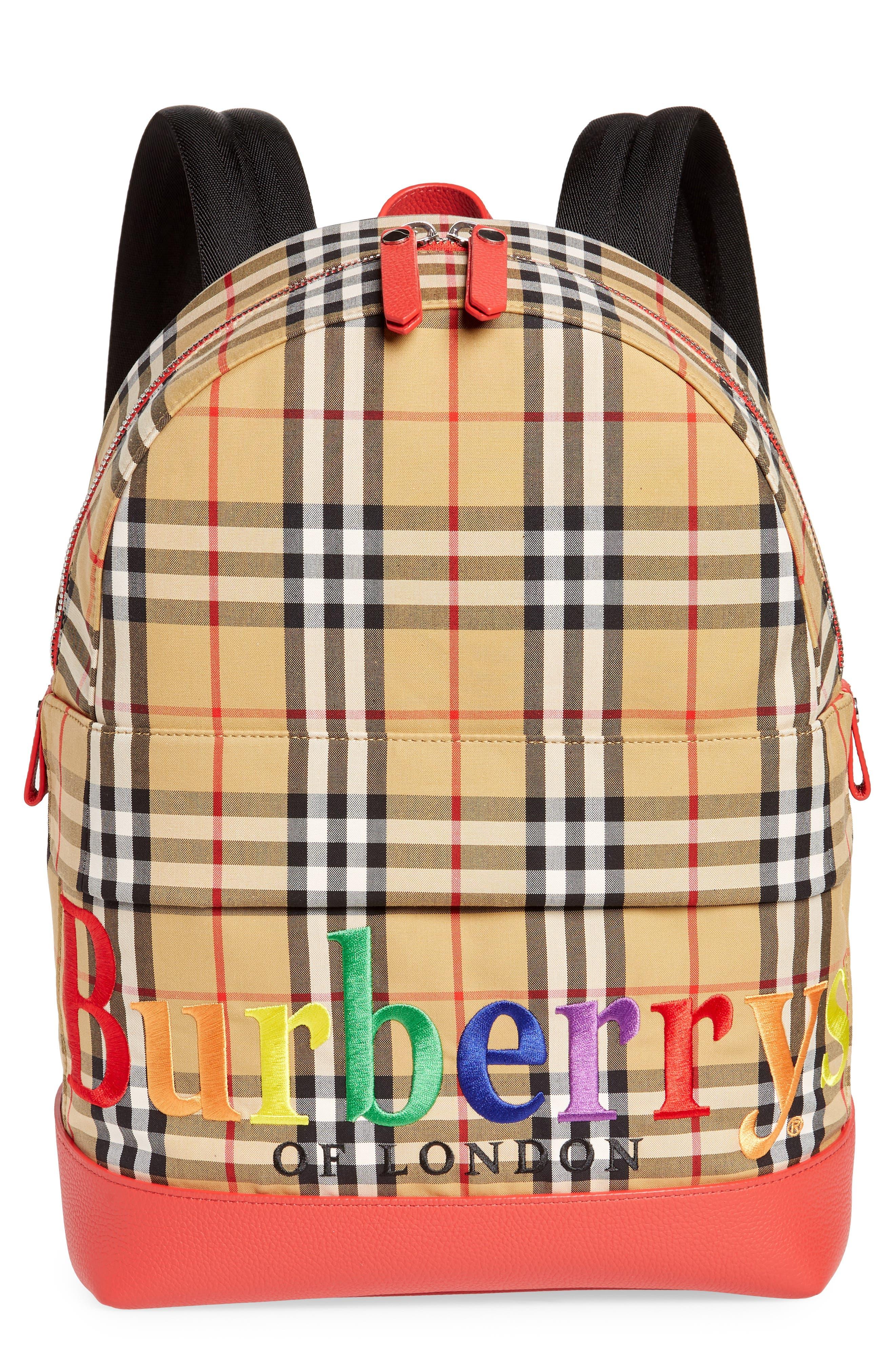 Nico Check Rainbow Logo Backpack,                             Main thumbnail 1, color,                             704