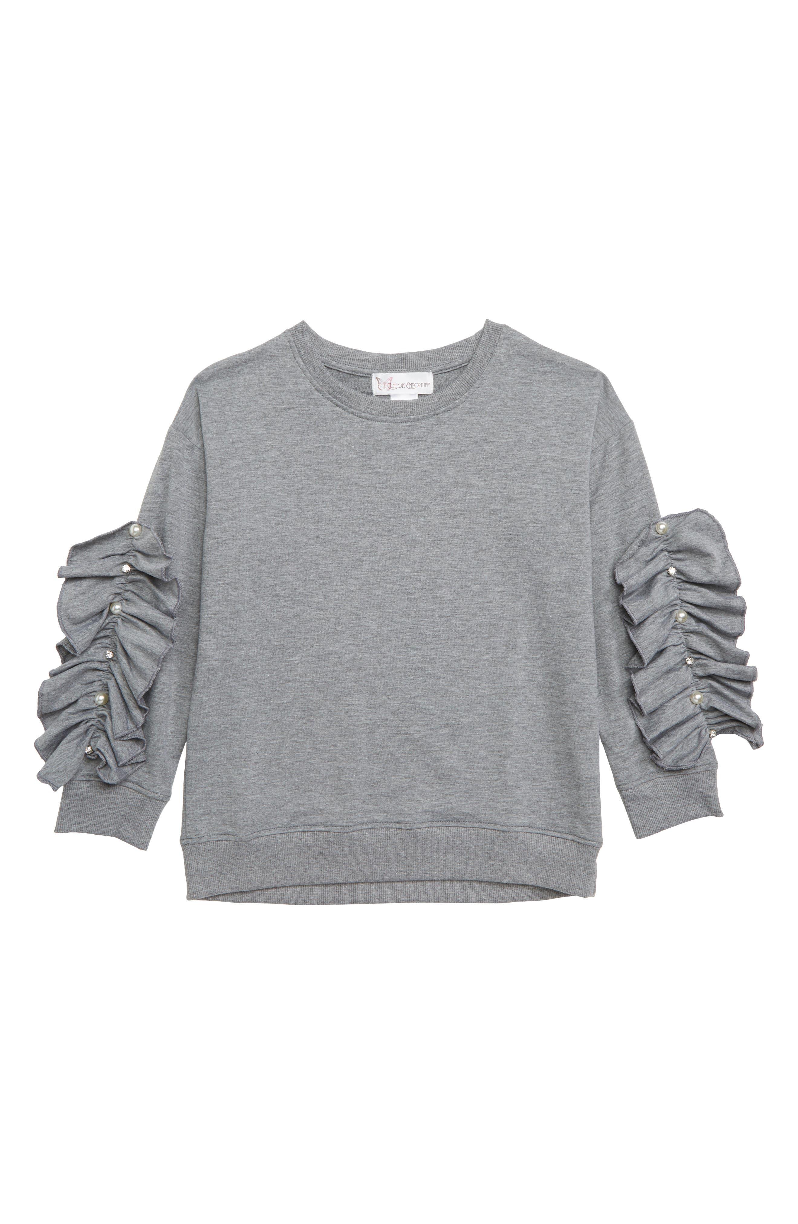 Ruffle Sleeve Sweatshirt,                         Main,                         color, GREY