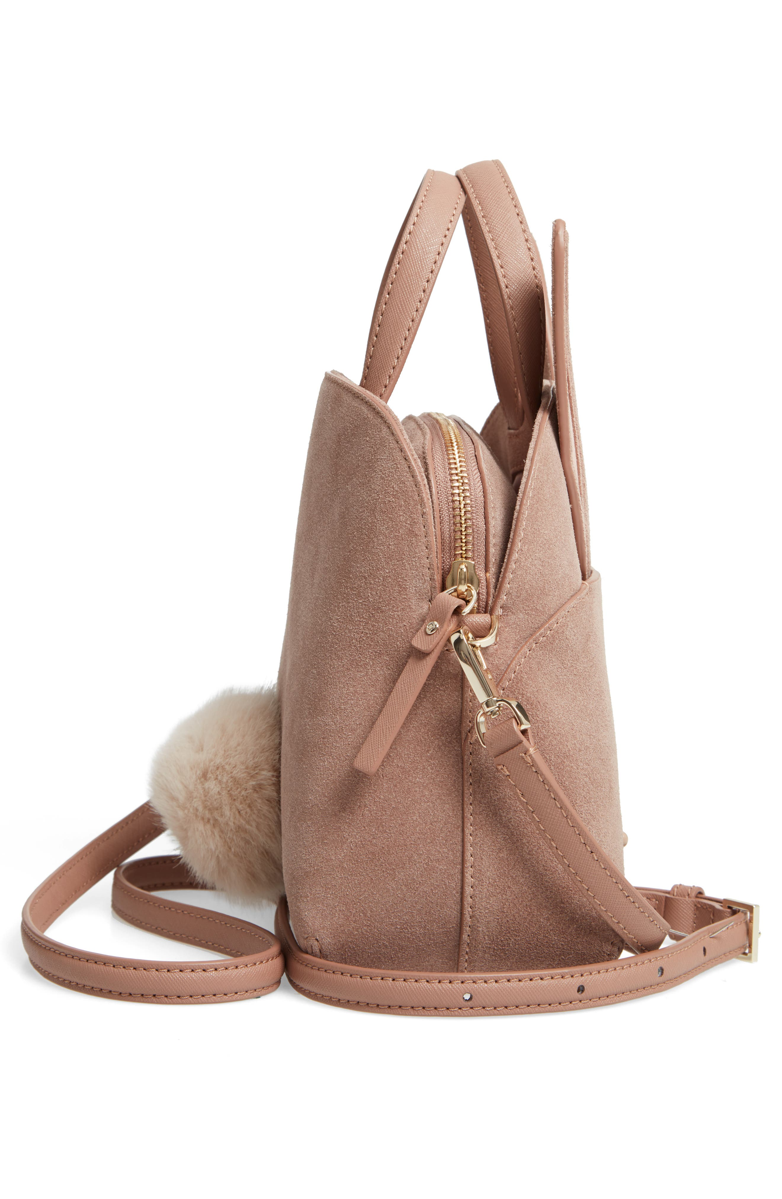 KATE SPADE NEW YORK,                             desert muse rabbit small lotti bag,                             Alternate thumbnail 5, color,                             200