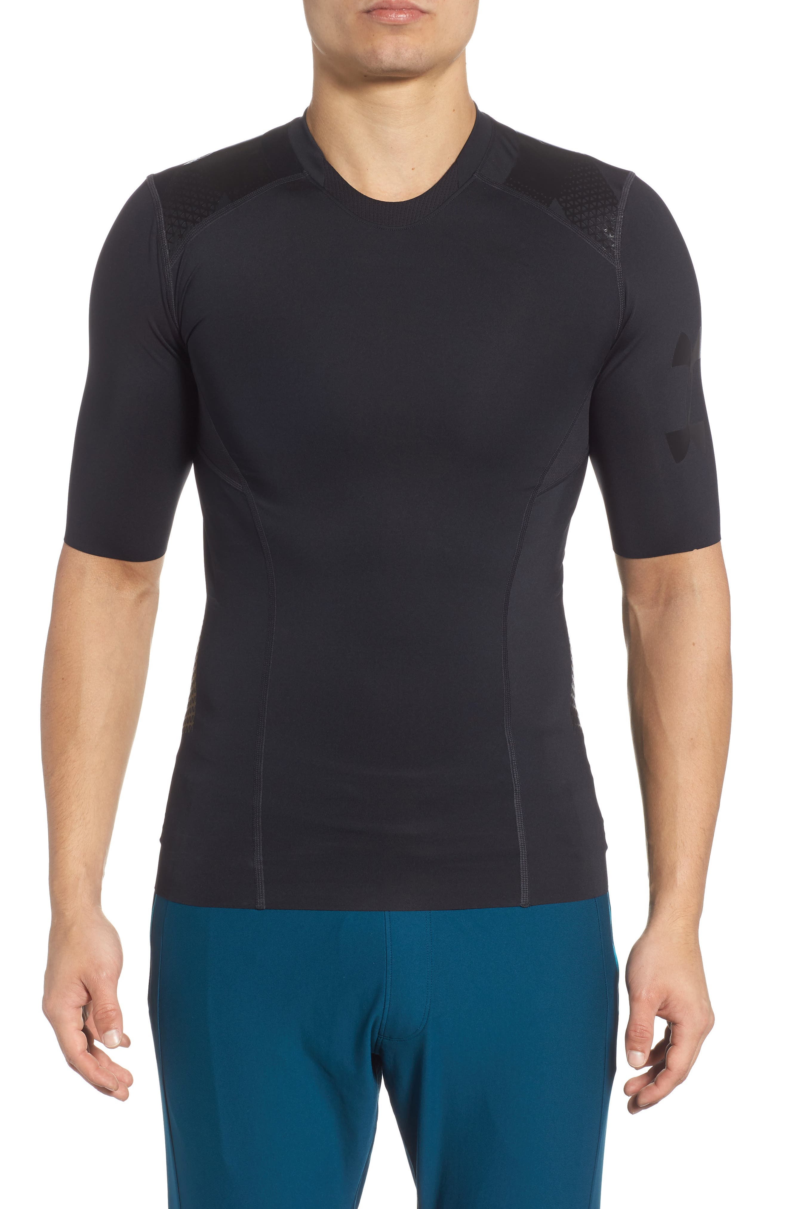 Perpetual Half Sleeve Fitted Shirt,                             Main thumbnail 1, color,                             BLACK