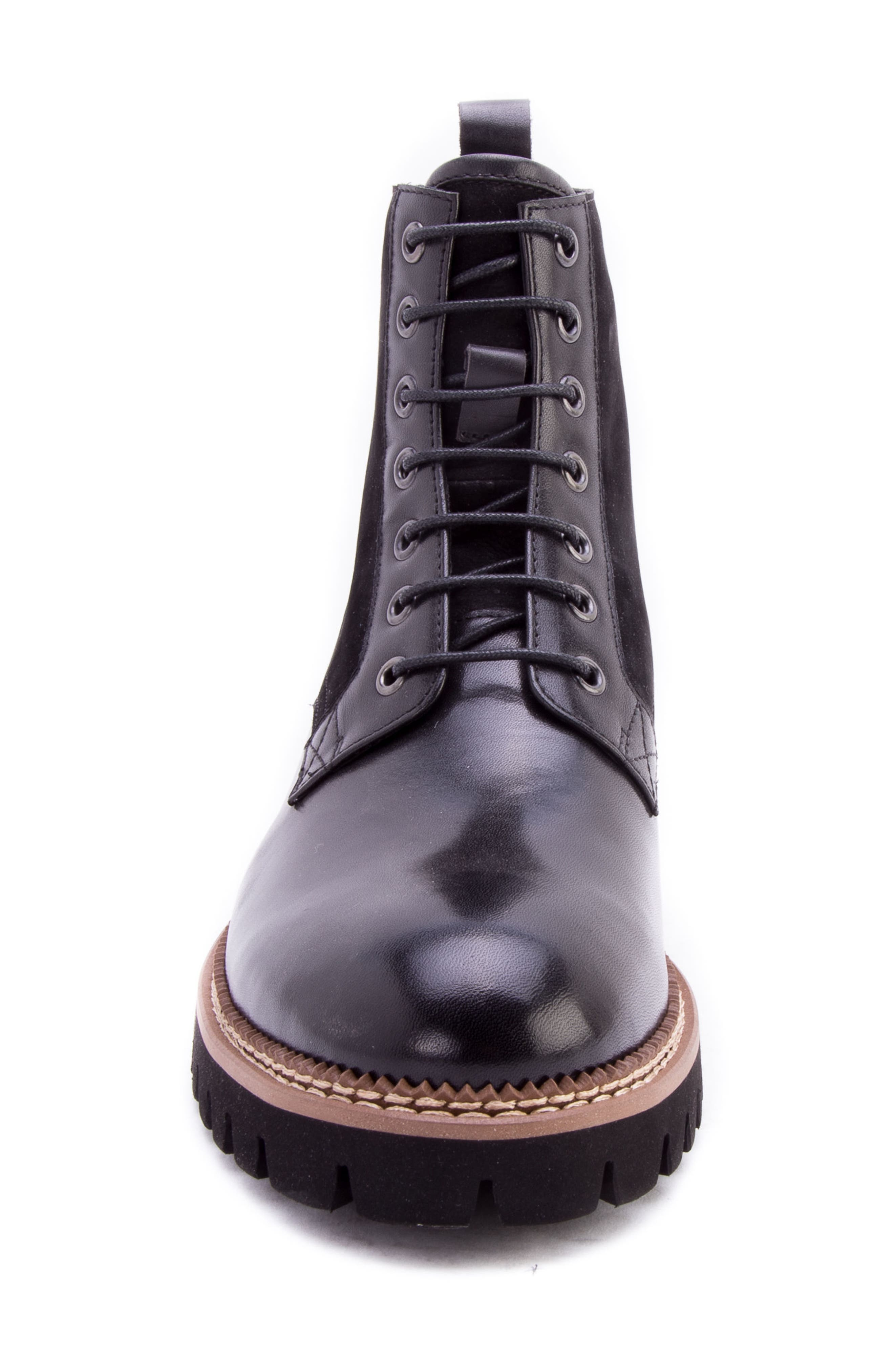 Millet Water Resistant Lugged Boot,                             Alternate thumbnail 4, color,                             BLACK LEATHER