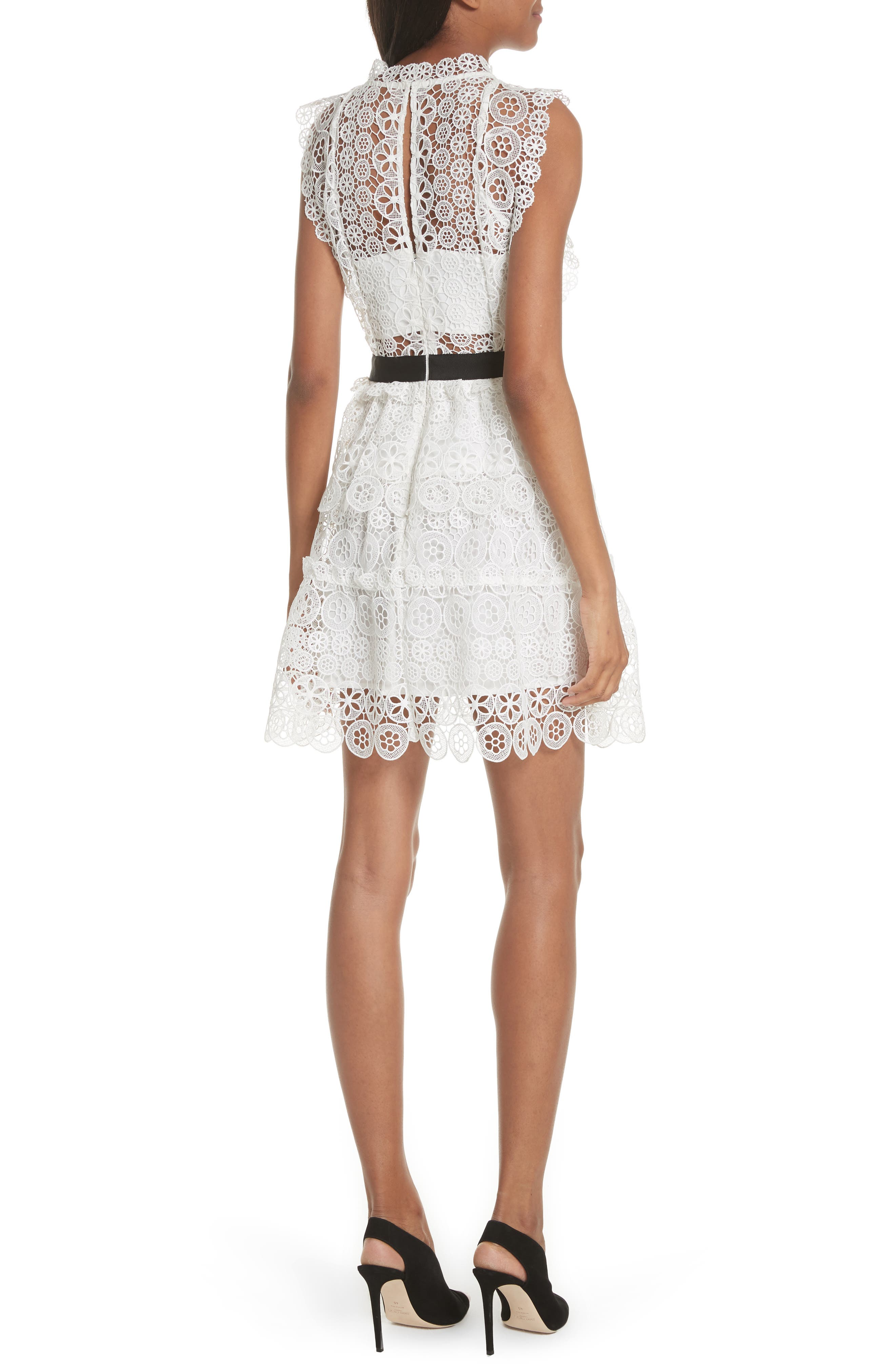 Floral Lace Tiered Dress,                             Alternate thumbnail 2, color,                             100