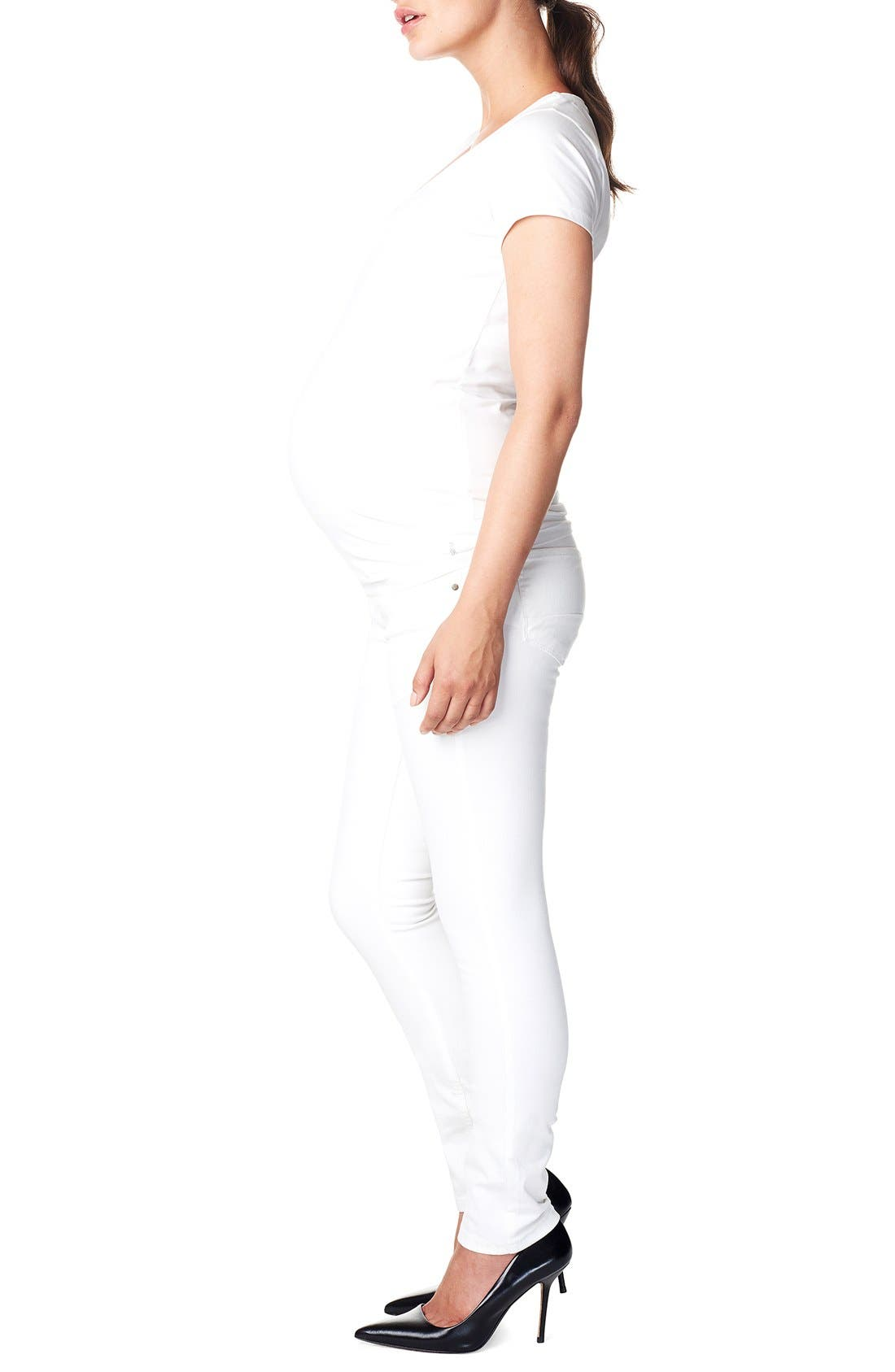 'Leah' Over the Belly Slim Maternity Jeans,                             Alternate thumbnail 3, color,                             WHITE