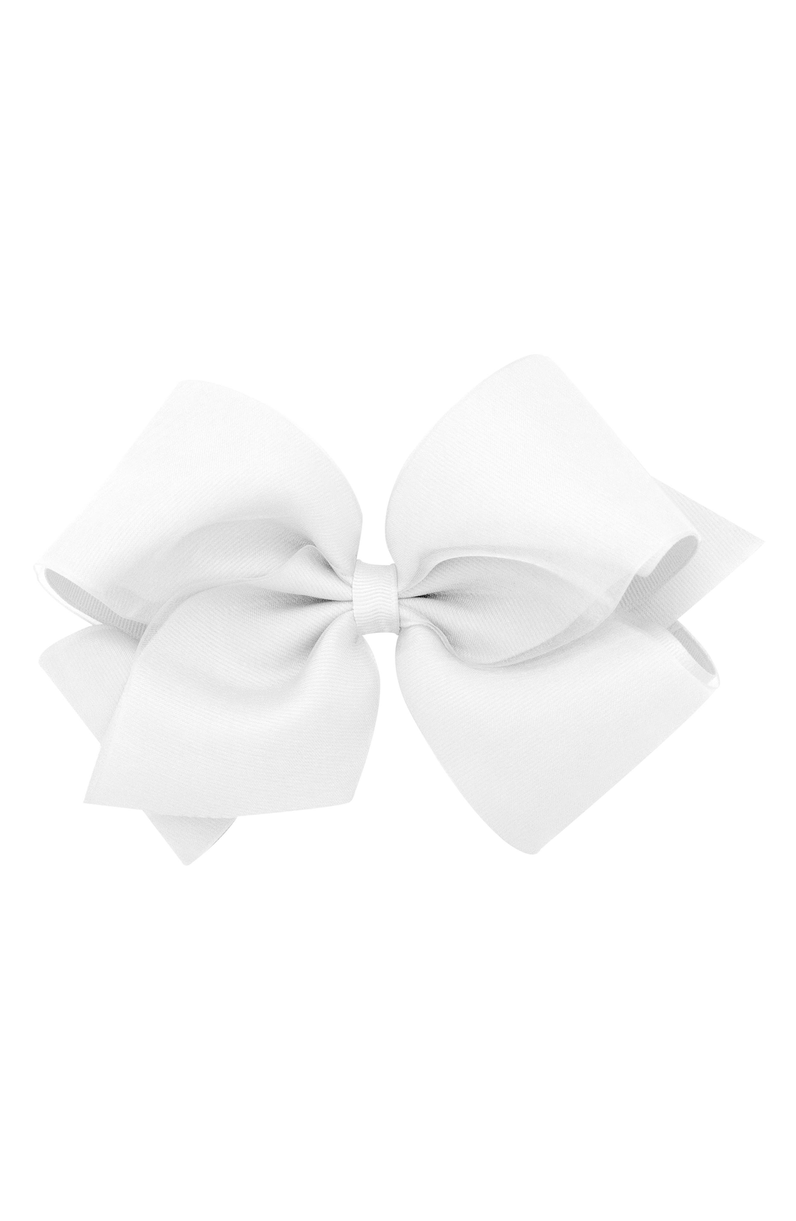 King Organza Overlay Bow Hair Clip,                             Alternate thumbnail 2, color,                             WHITE