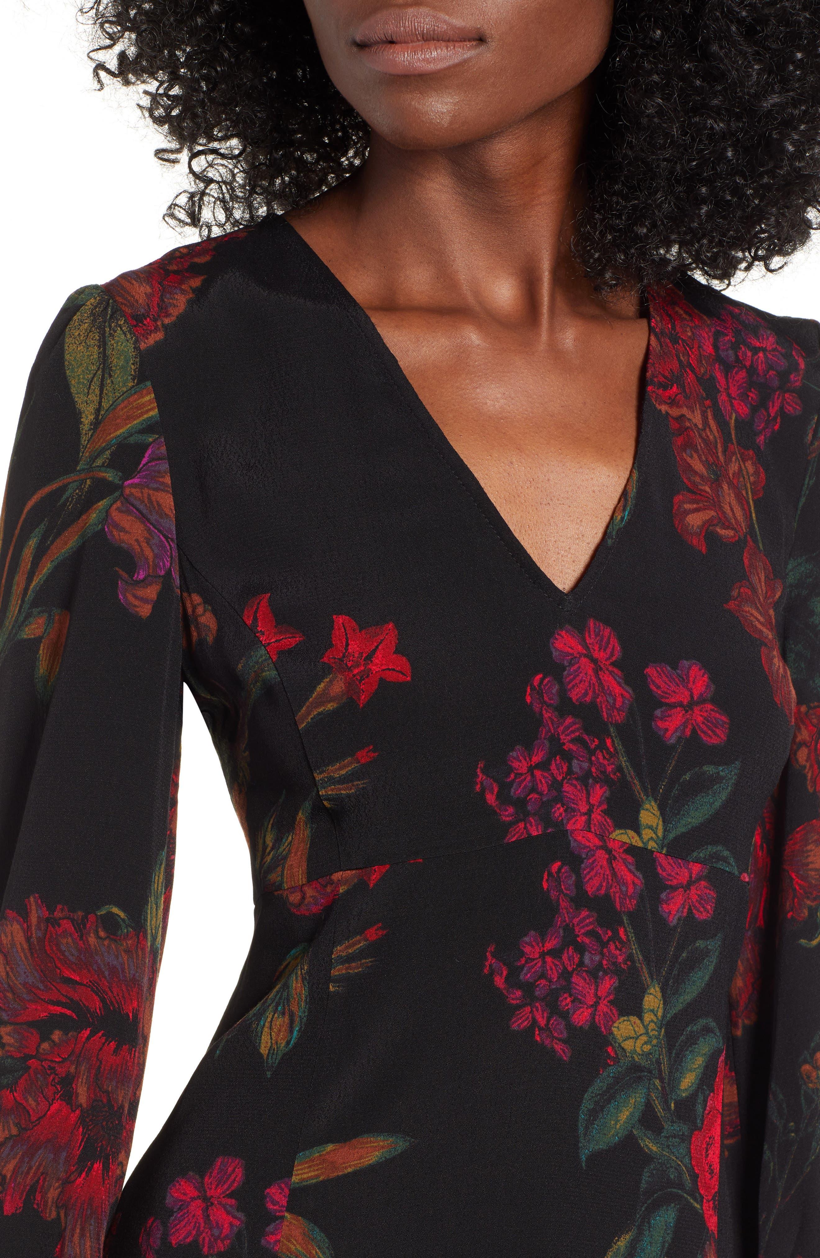 V-Neck Floral Print Minidress,                             Alternate thumbnail 4, color,                             BLACK STATEMENT FLORAL