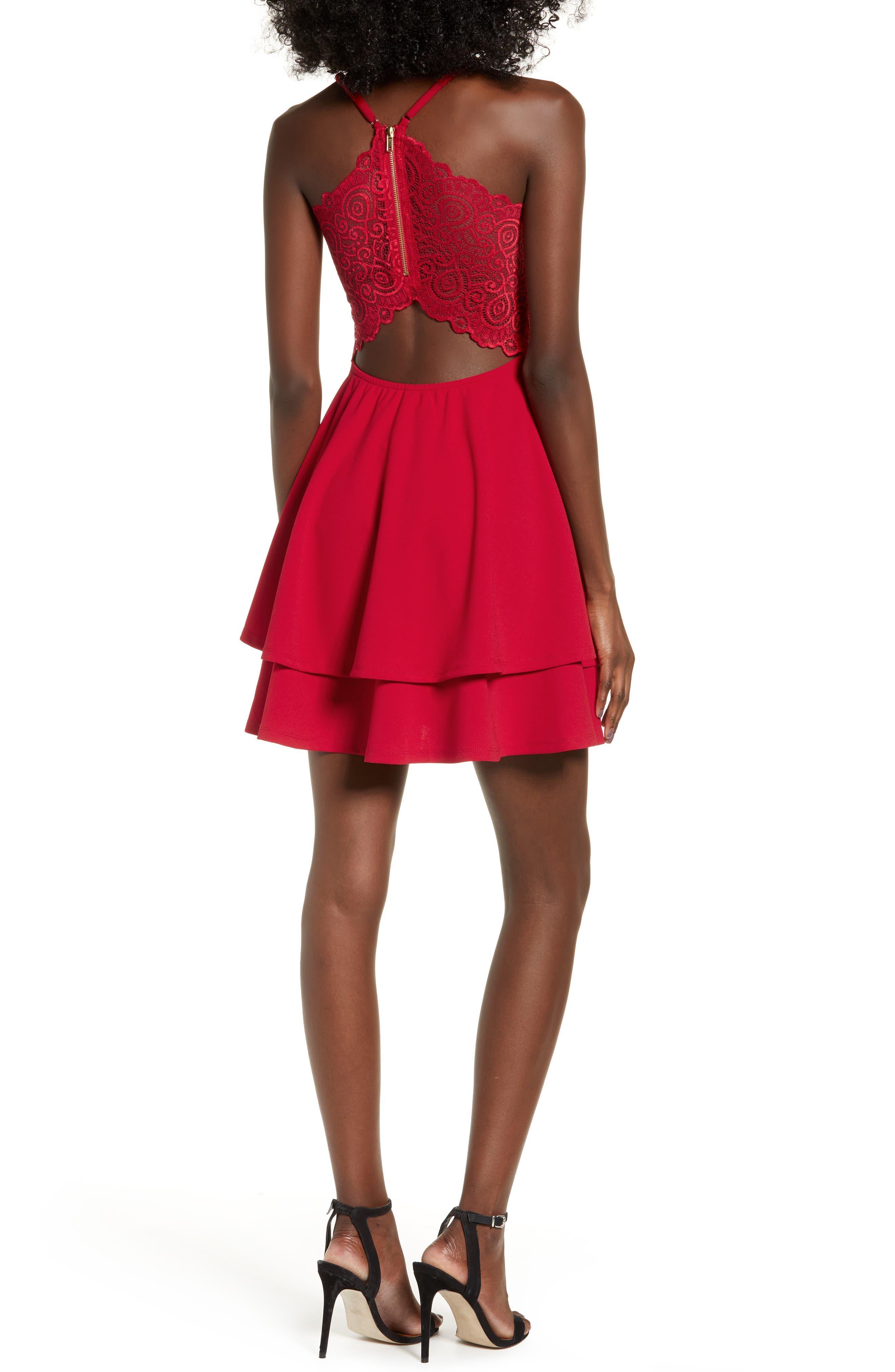 LOVE, NICKIE LEW,                             V-Neck Skater Dress,                             Alternate thumbnail 2, color,                             RED