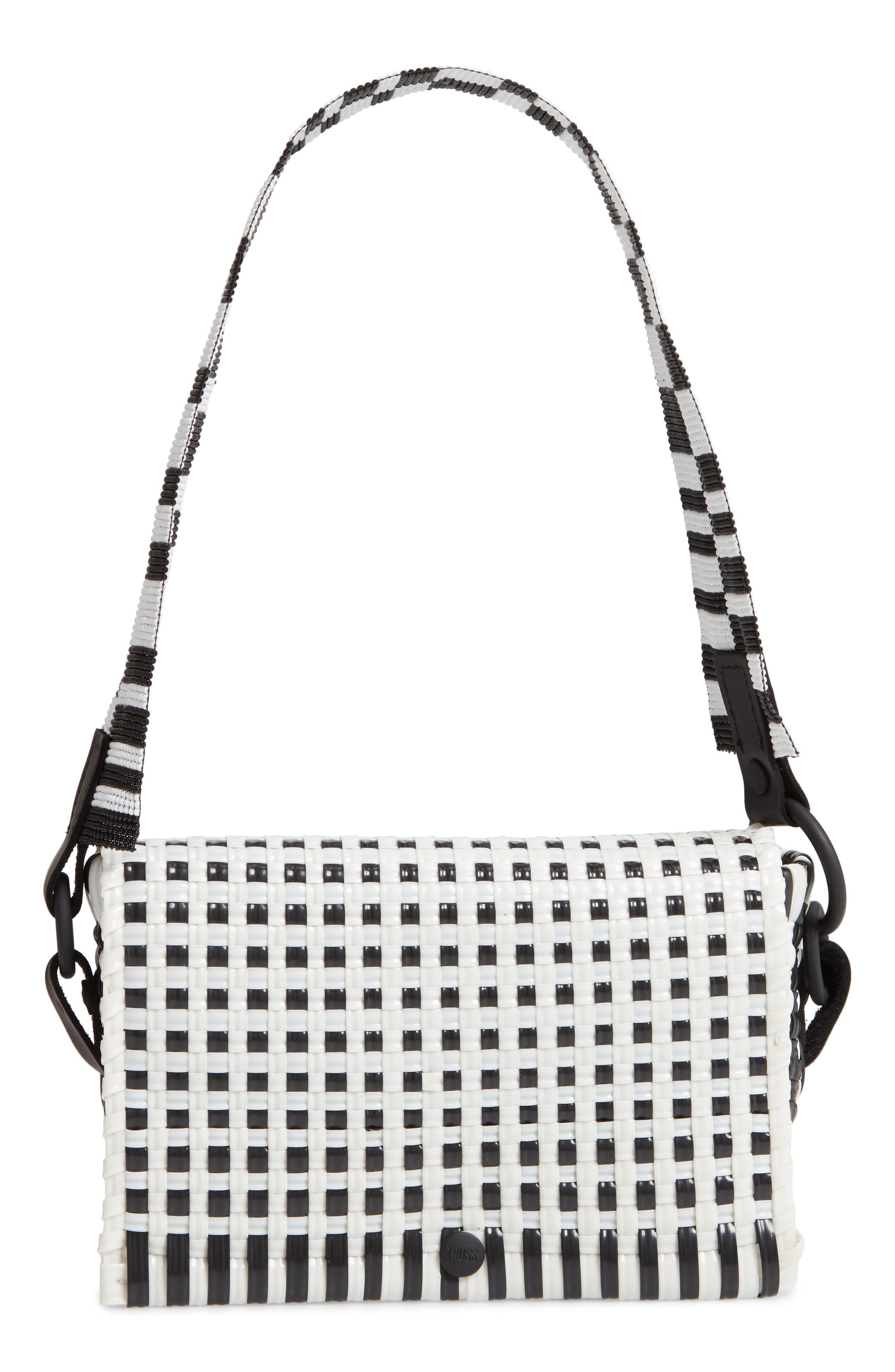 Woven Baguette Shoulder Bag,                         Main,                         color, BLACK/ WHITE