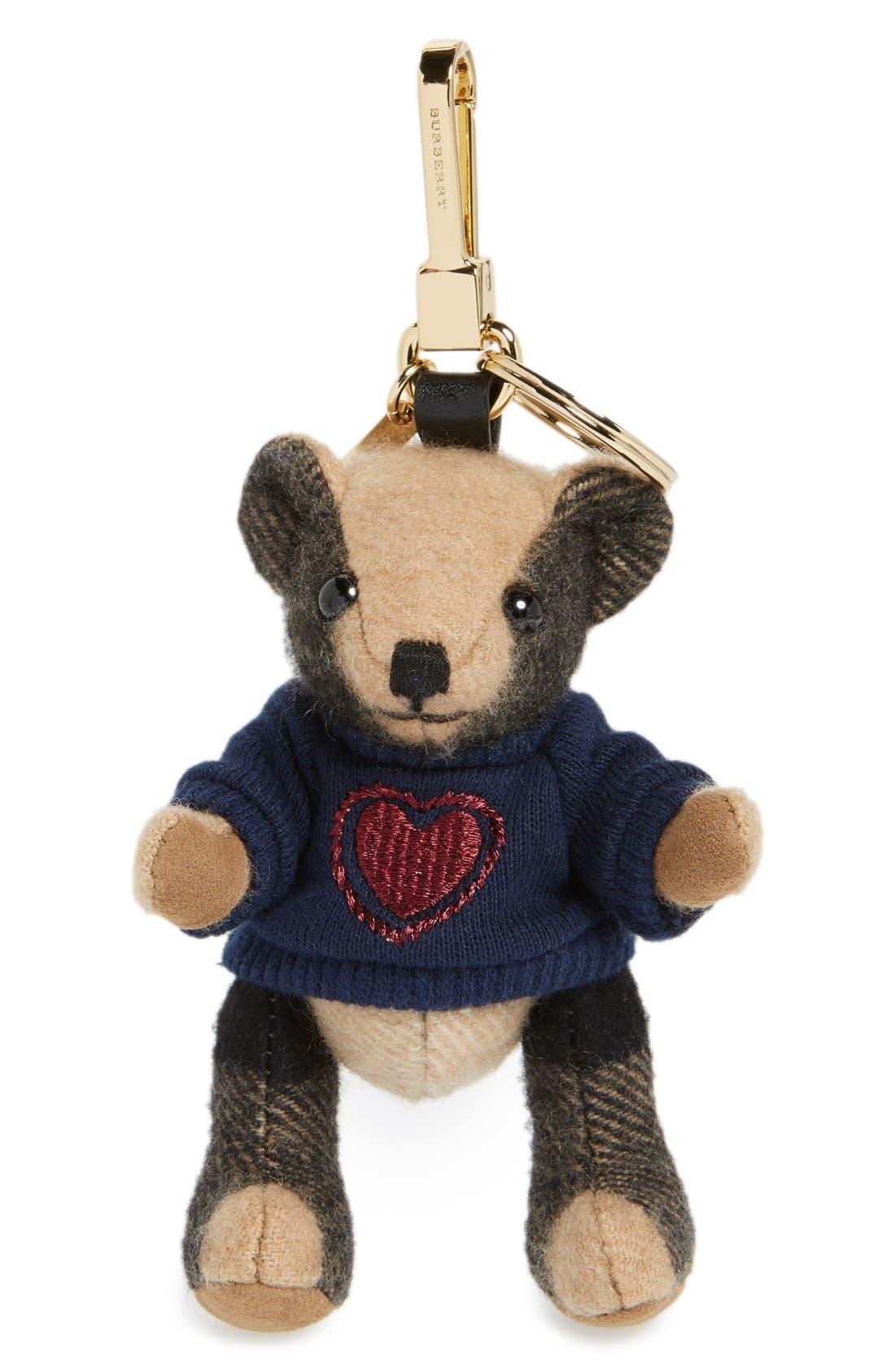 BURBERRY,                             'Thomas Bear Heart Sweater' Check Cashmere Bag Charm,                             Main thumbnail 1, color,                             231
