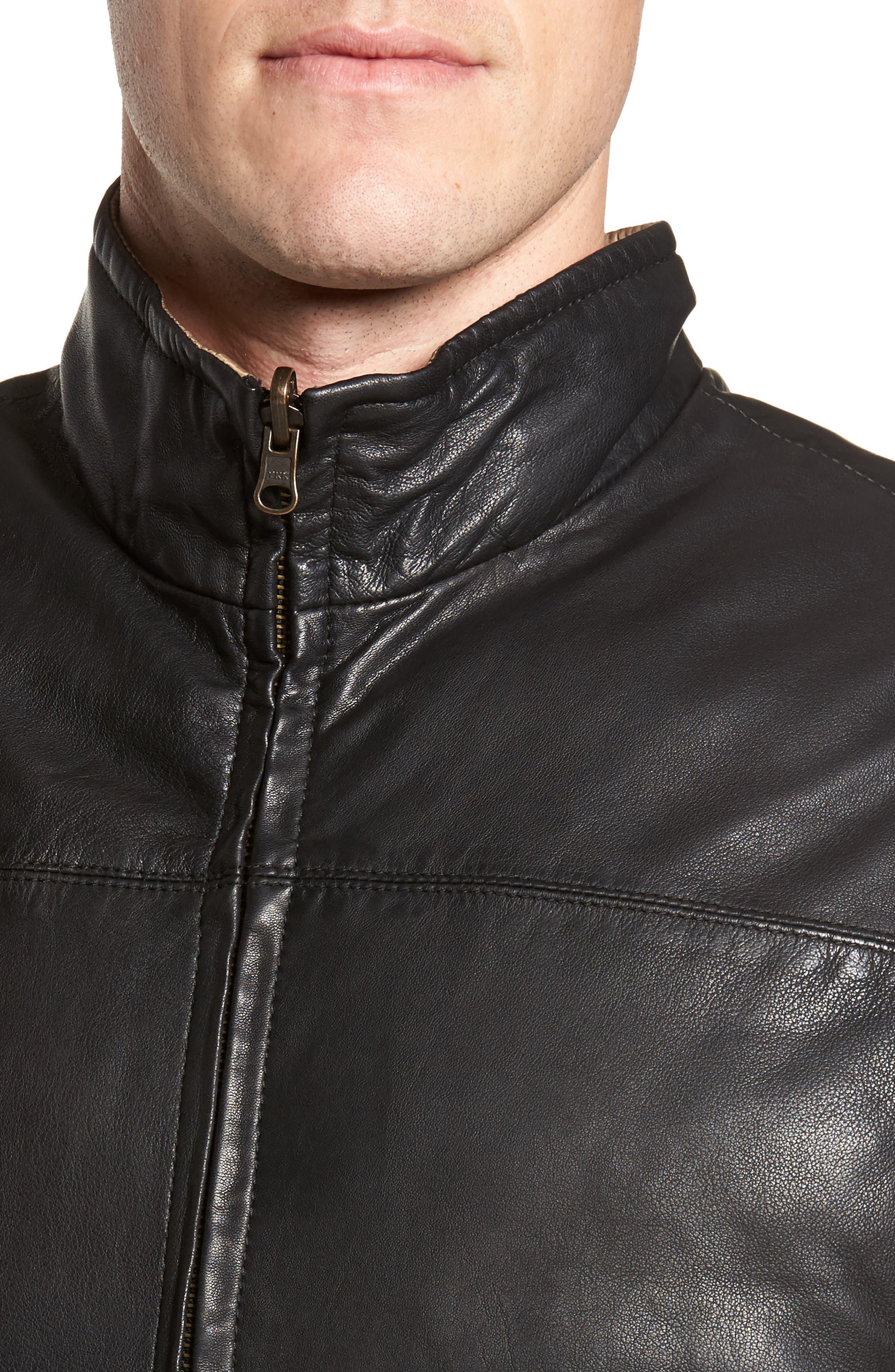 Reversible Leather Puffer Vest,                             Alternate thumbnail 5, color,                             001