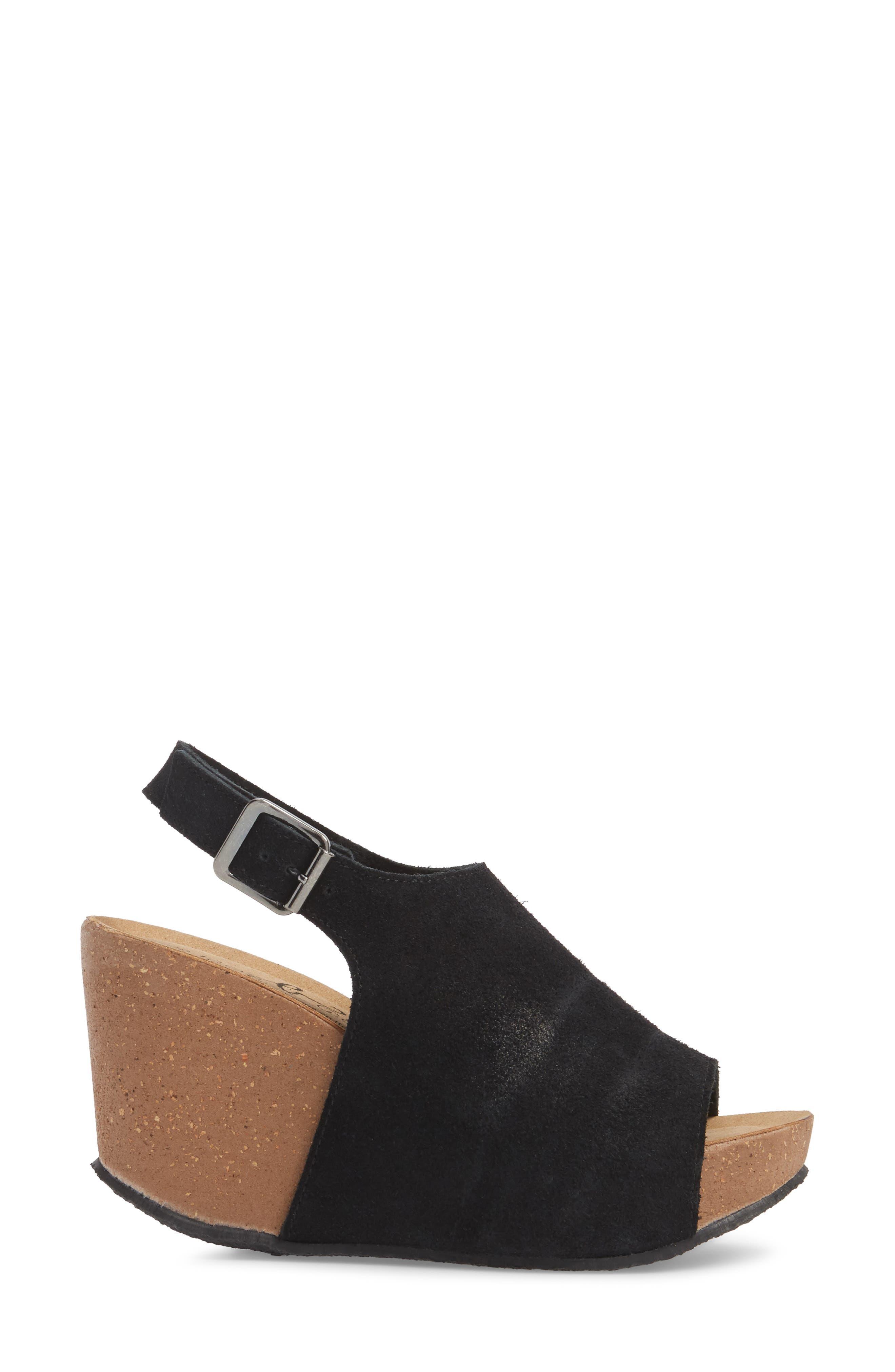 Sheila Platform Wedge Sandal,                             Alternate thumbnail 3, color,                             BLACK NUBUCK