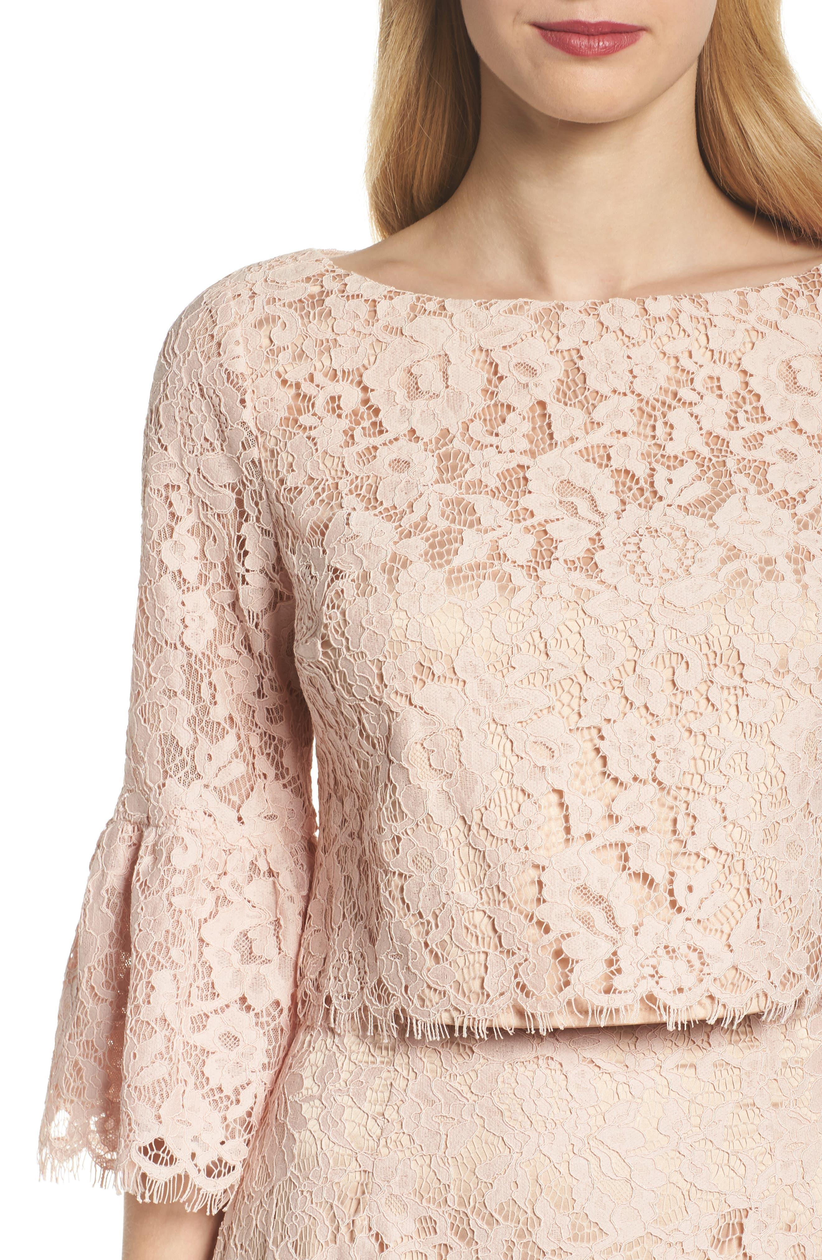 Ruffle Trim Lace Two-Piece Dress,                             Alternate thumbnail 4, color,                             651