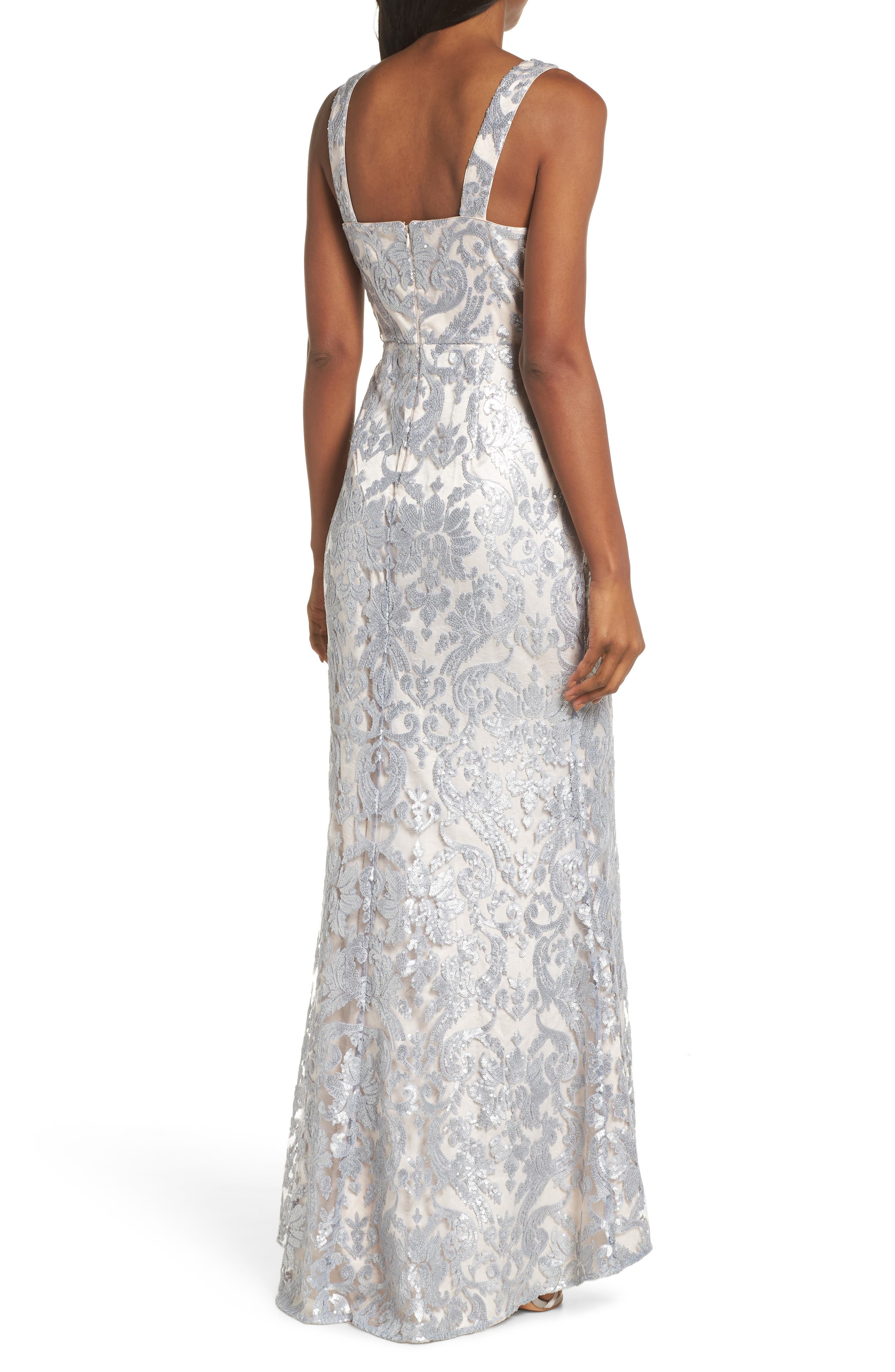 ELIZA J,                             Embroidered Evening Dress,                             Alternate thumbnail 2, color,                             SILVER