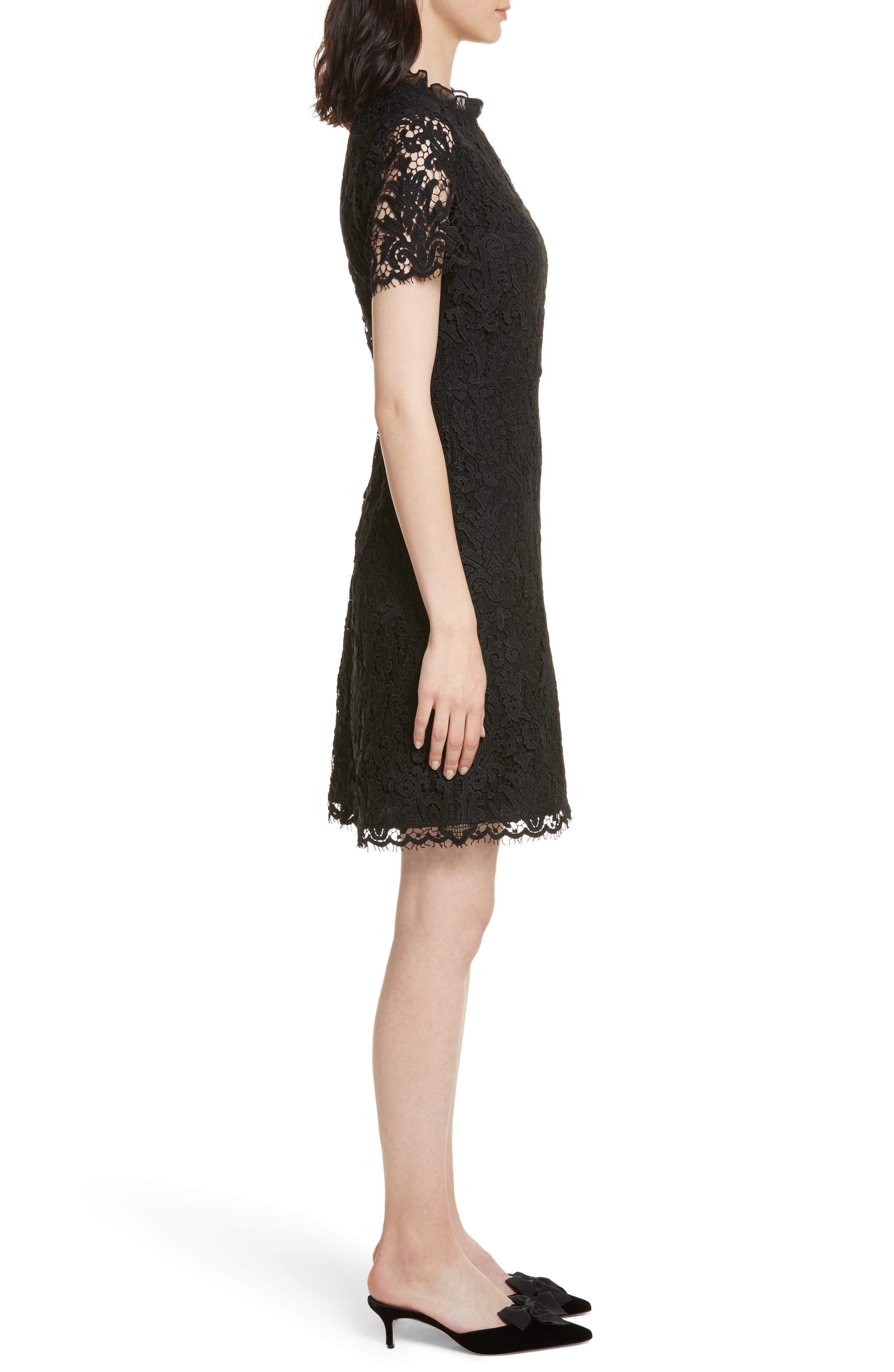 tapestry lace dress,                             Alternate thumbnail 3, color,                             001