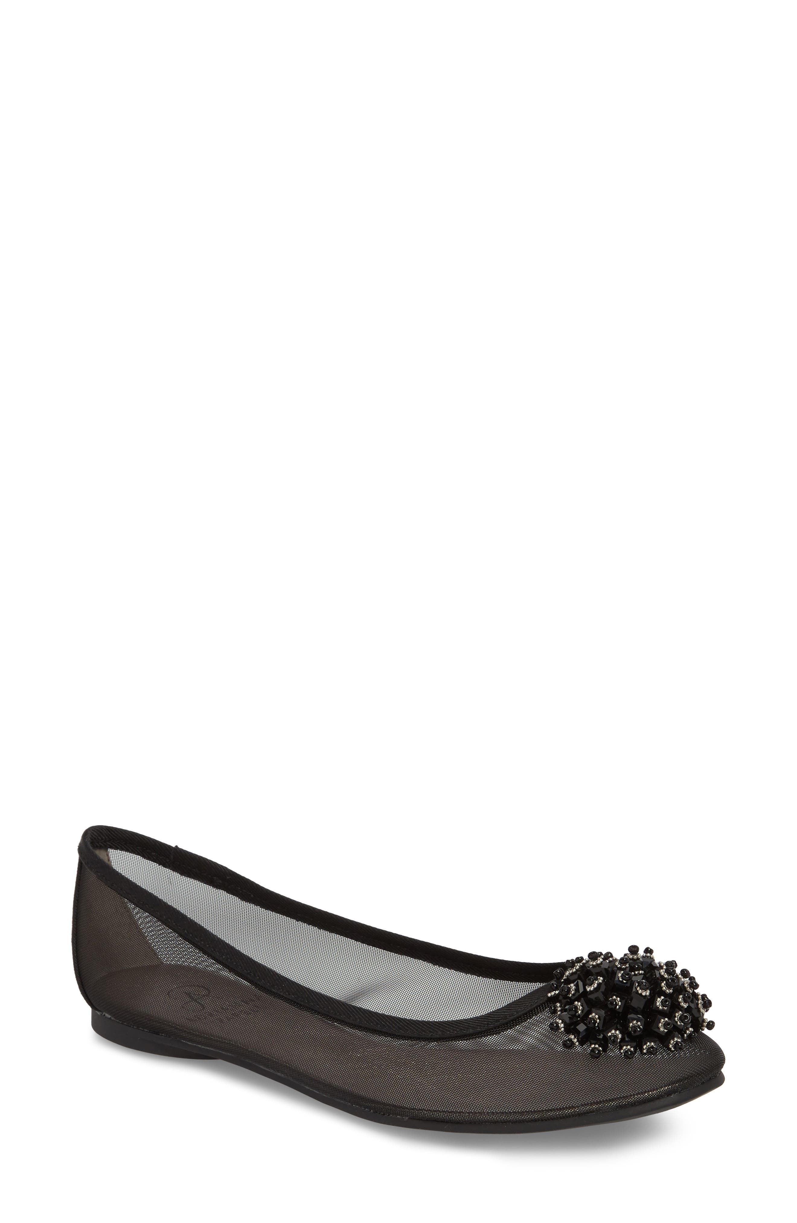 ADRIANNA PAPELL,                             Stevie Embellished Flat,                             Main thumbnail 1, color,                             001