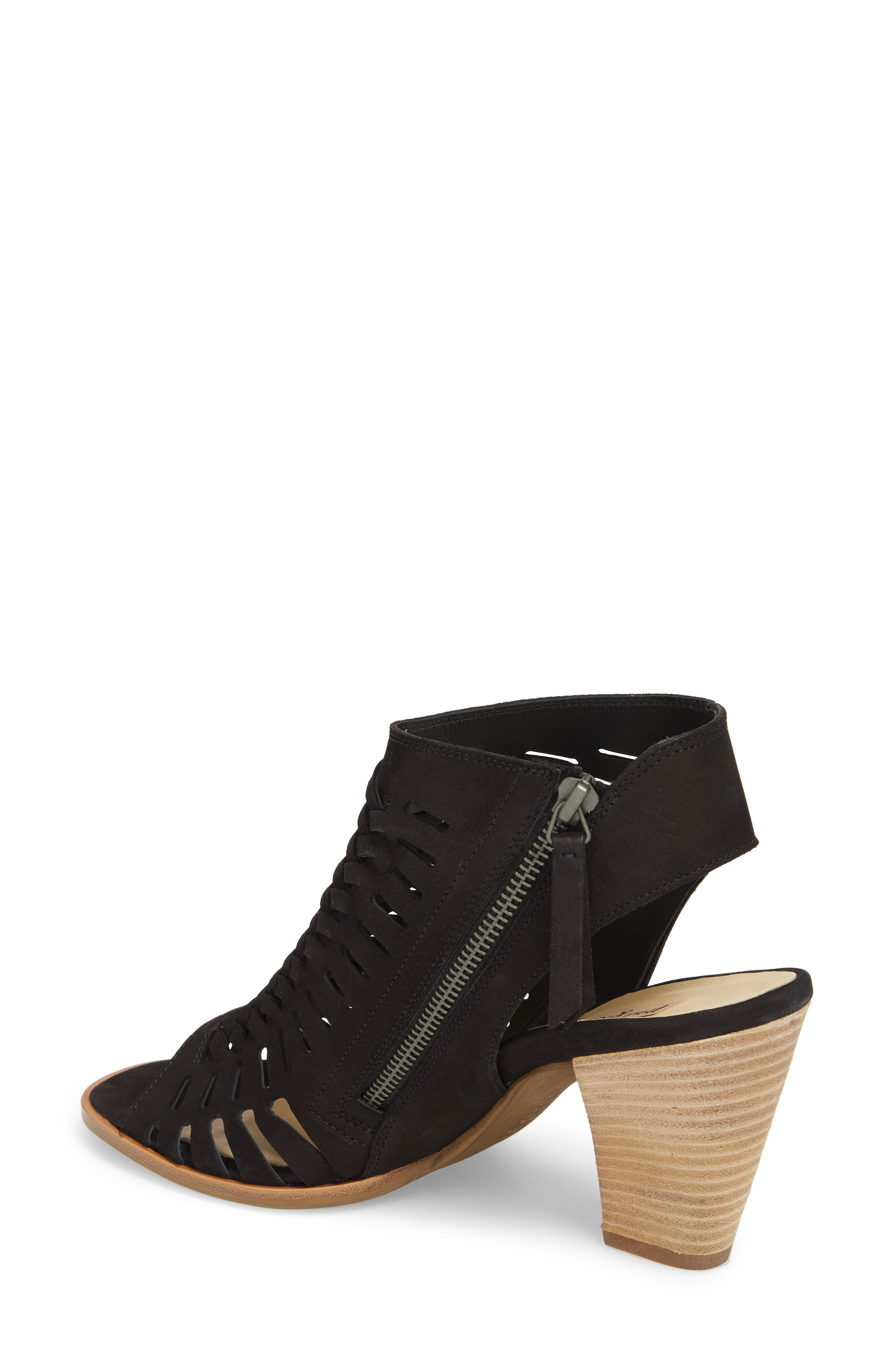 Rosa Woven Peep Toe Sandal,                             Alternate thumbnail 2, color,                             BLACK NUBUCK