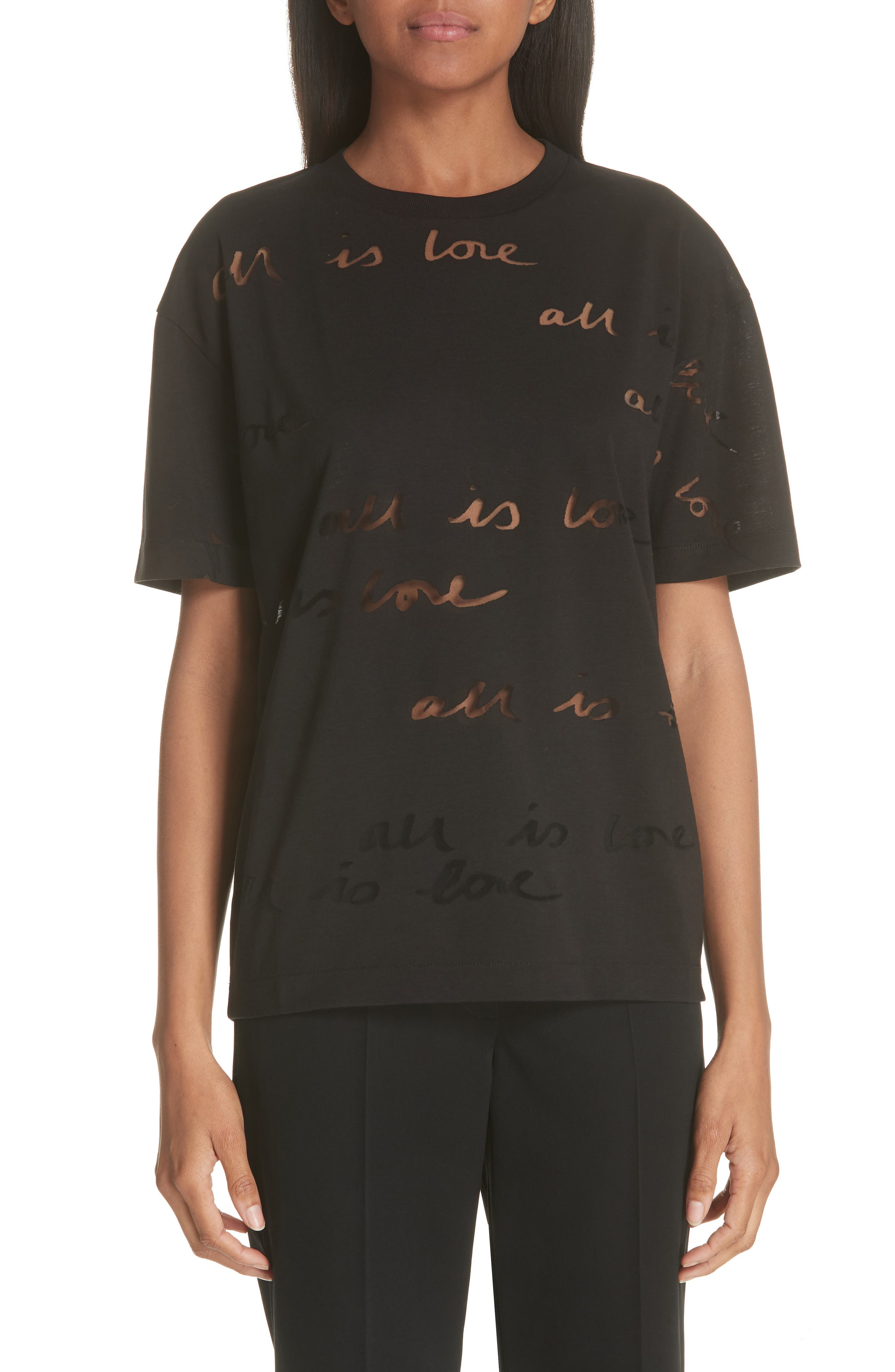 All Is Love See Through Graphic Tee,                             Main thumbnail 1, color,                             001