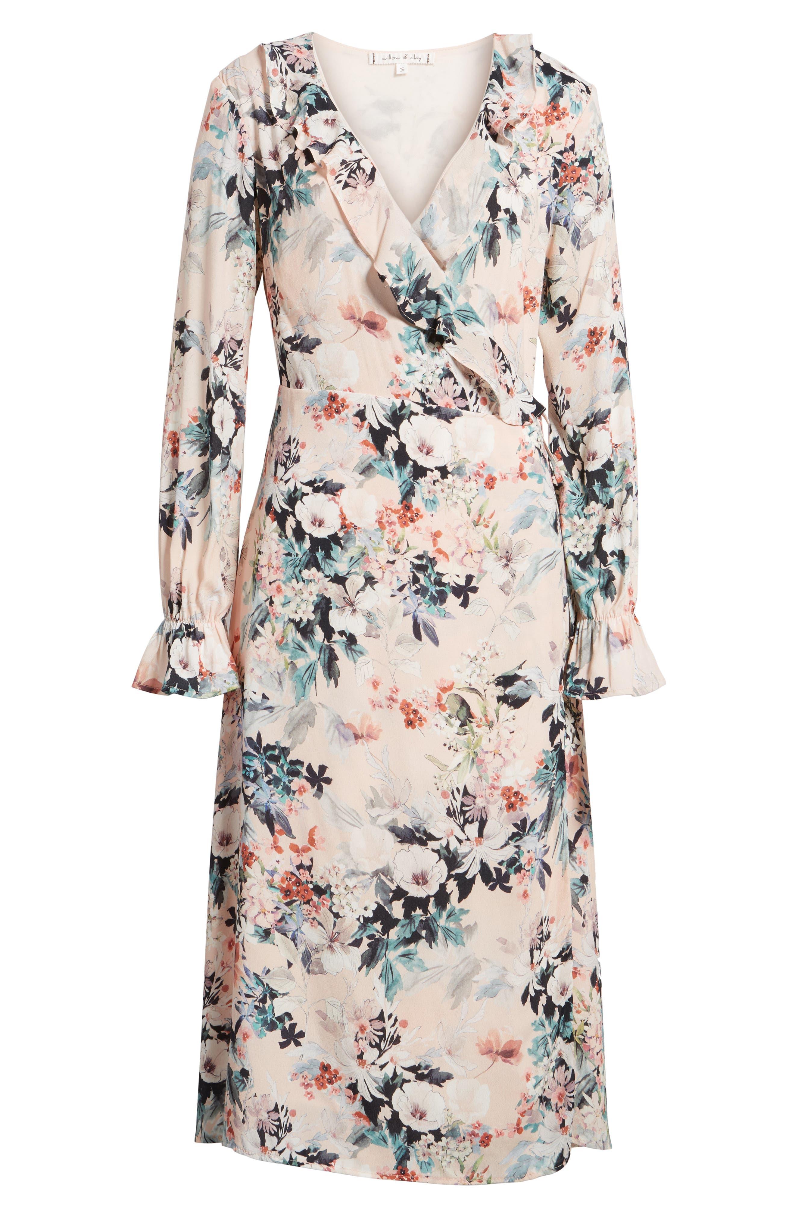 Midi Wrap Dress,                             Alternate thumbnail 7, color,                             680