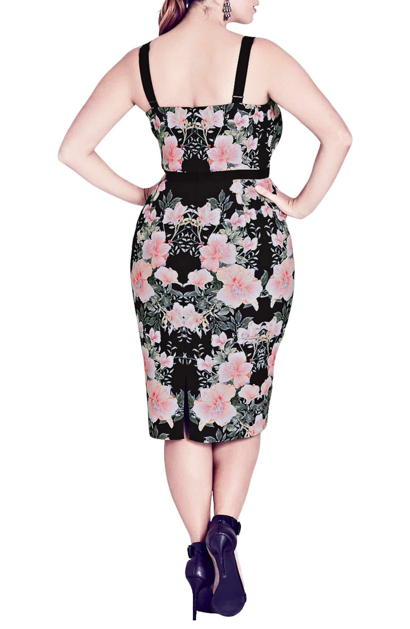 Impressions Floral Body-Con Dress,                             Alternate thumbnail 2, color,                             BLACK