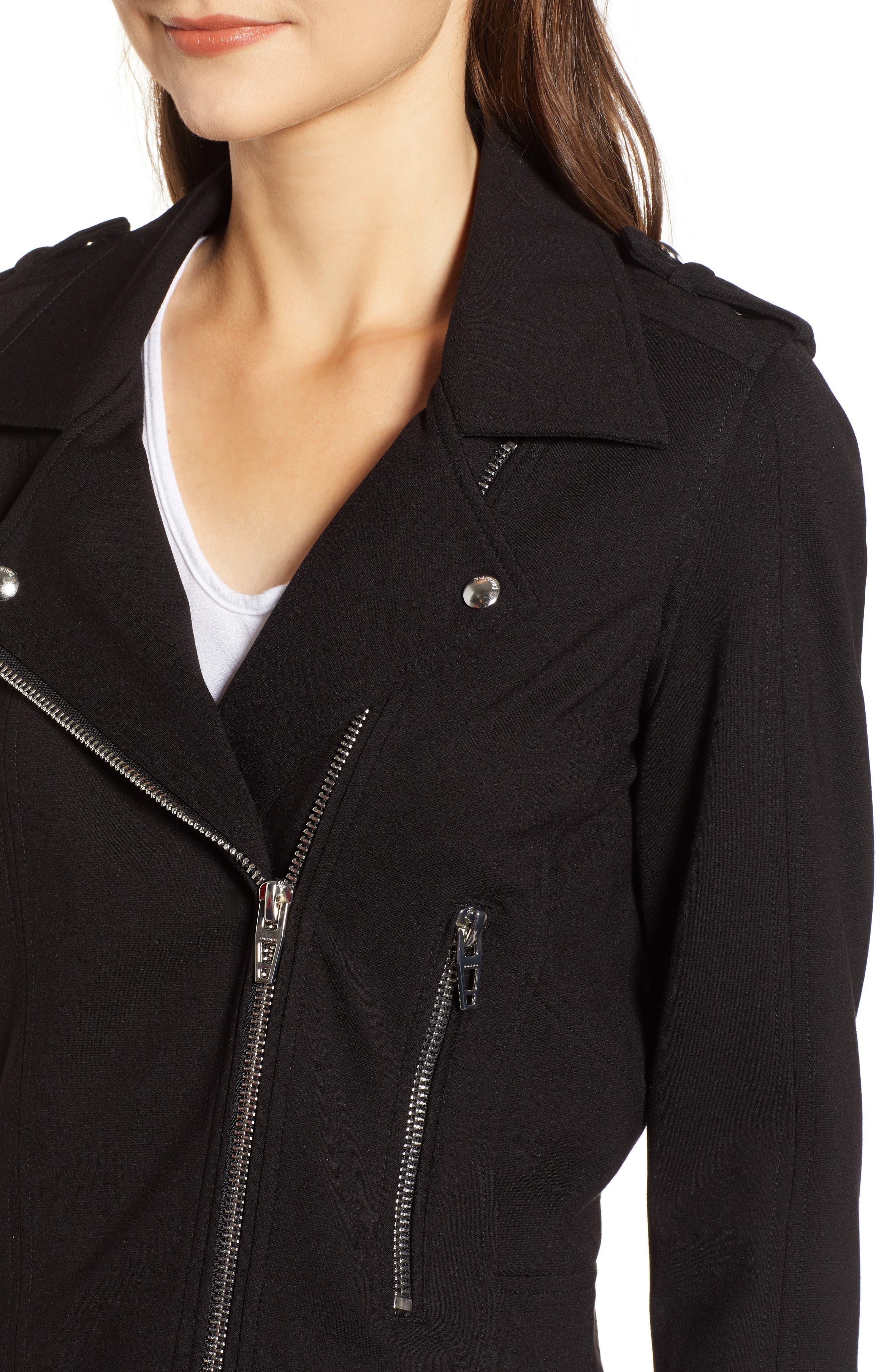 Knit Moto Jacket,                             Alternate thumbnail 4, color,                             CAVIAR