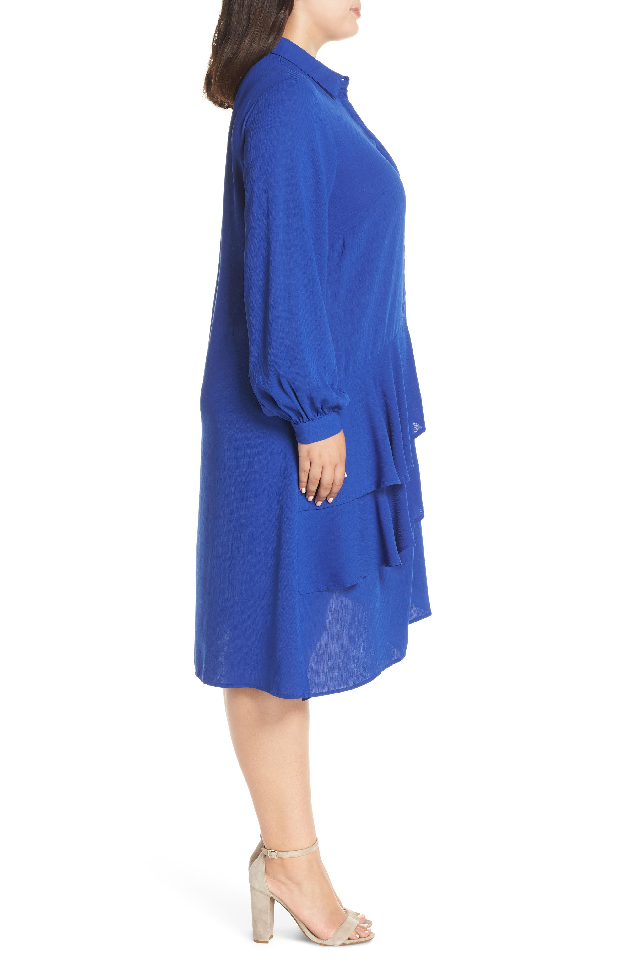 Frilly Shirtdress,                             Alternate thumbnail 3, color,                             BLUE