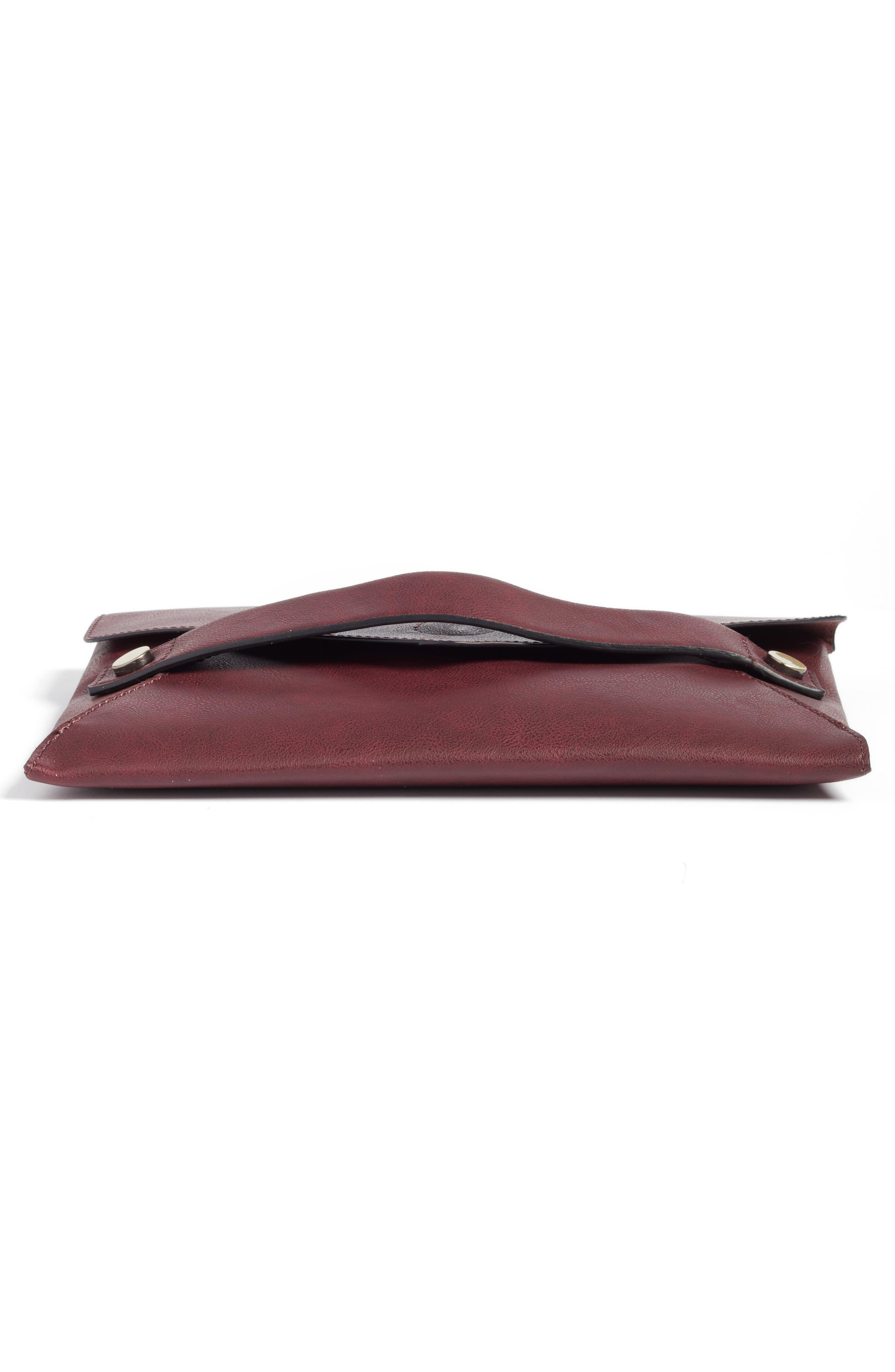 Karen Faux Leather Envelope Clutch,                             Alternate thumbnail 18, color,