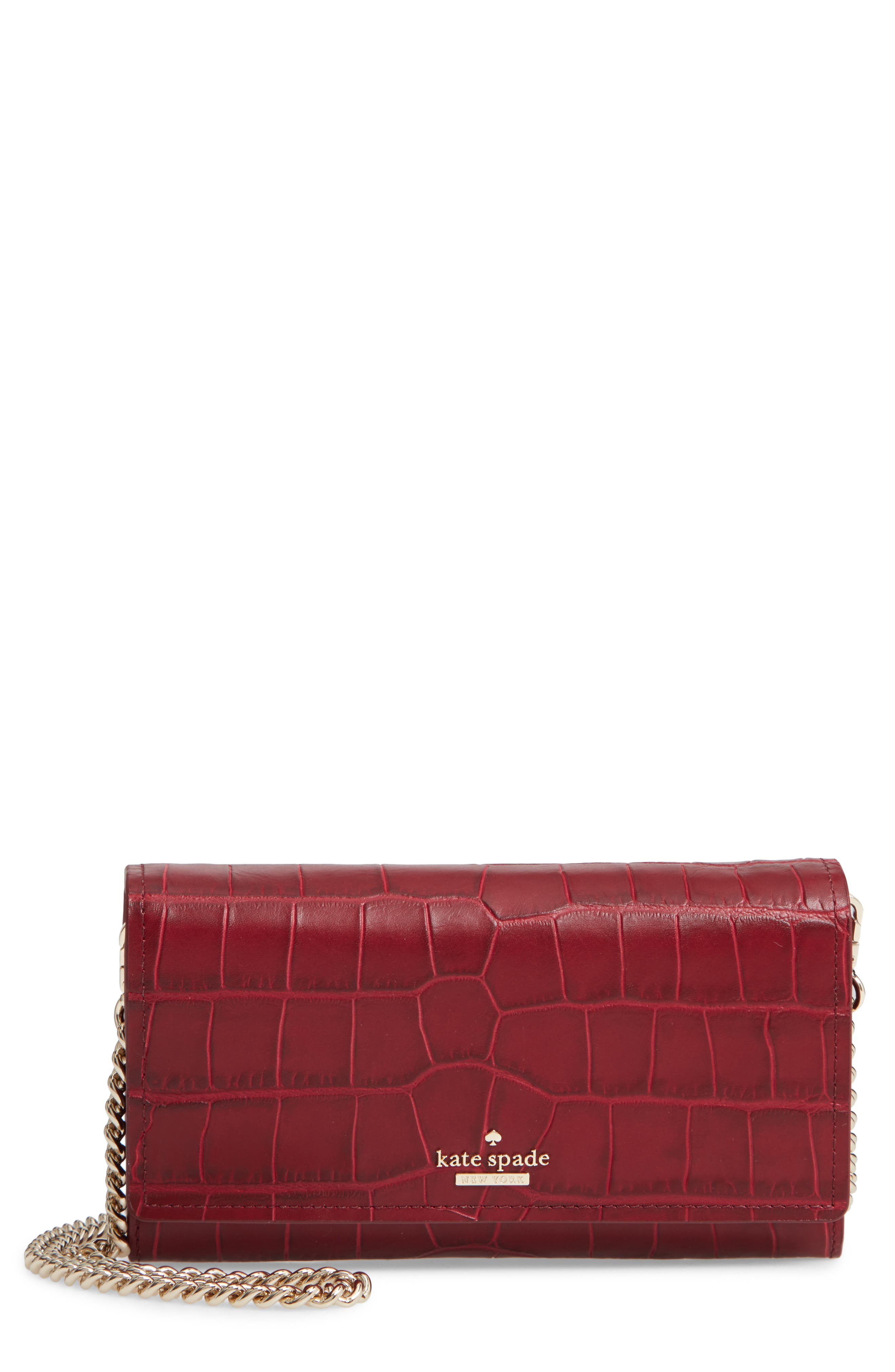murray street luxe franny leather wallet on a chain,                             Main thumbnail 1, color,                             CHILI PEPPER