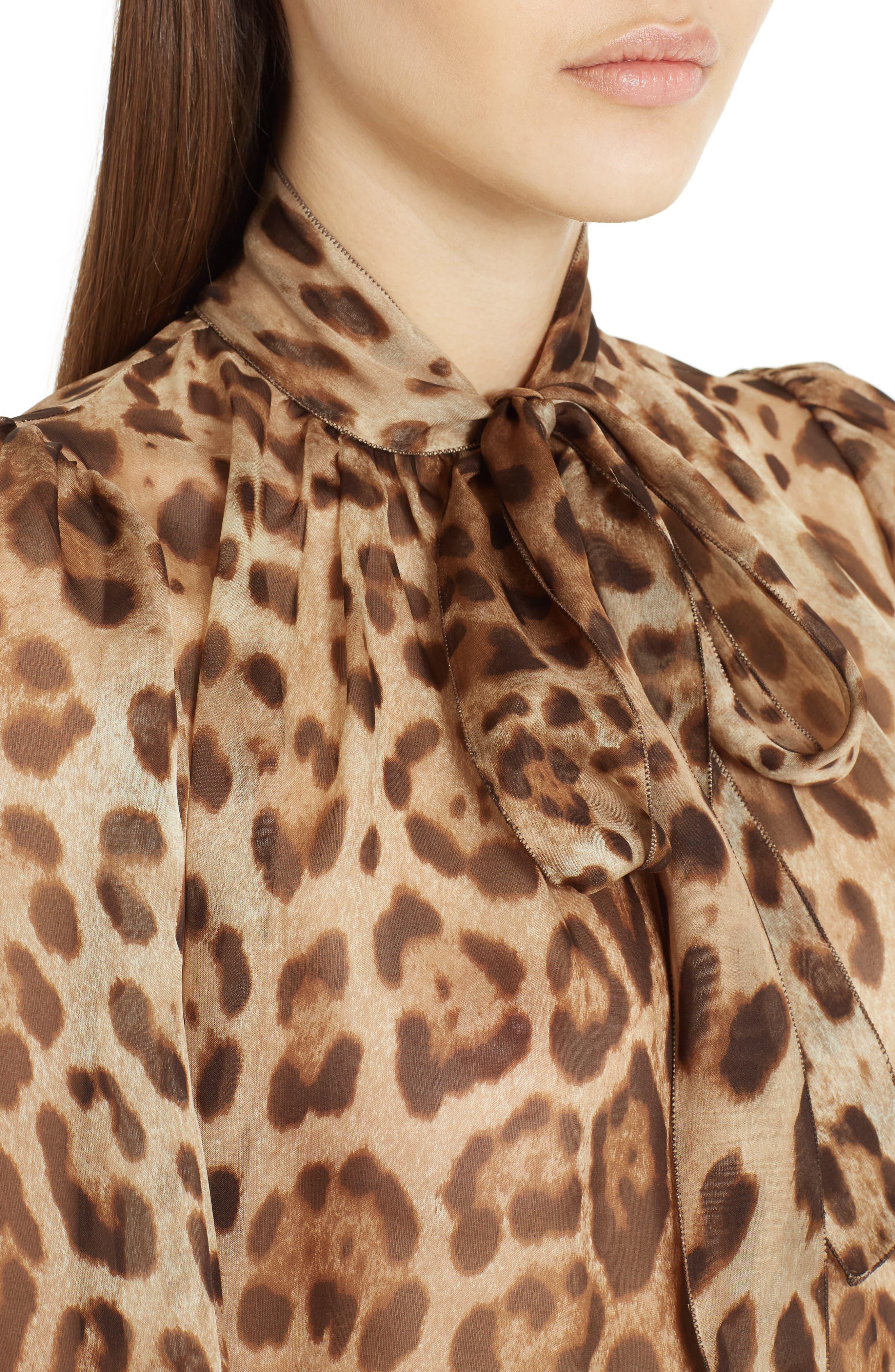 Leopard Print Silk Tie Neck Blouse,                             Alternate thumbnail 4, color,