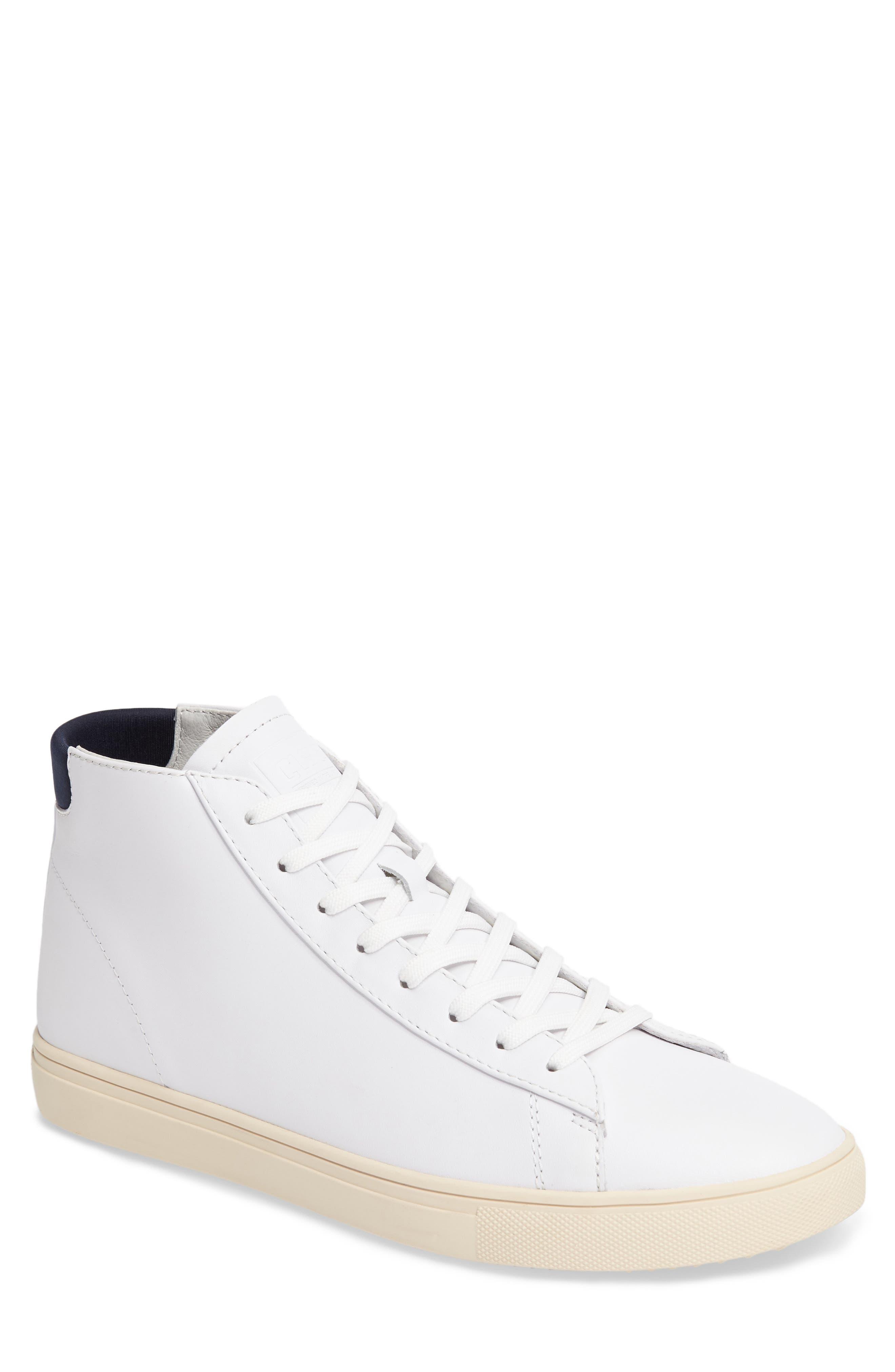 'Bradley Mid' Sneaker,                             Main thumbnail 1, color,                             WHITE/WHITE LEATHER