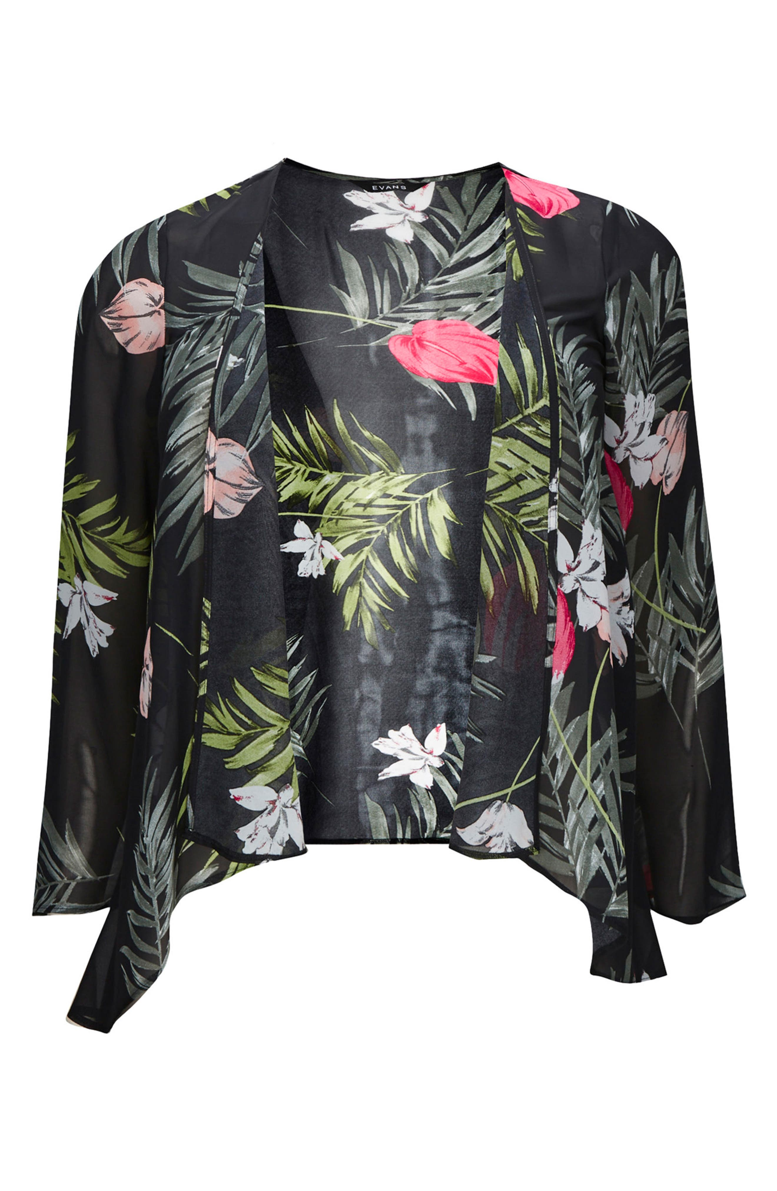 Floral Kimono Jacket,                             Alternate thumbnail 2, color,                             001
