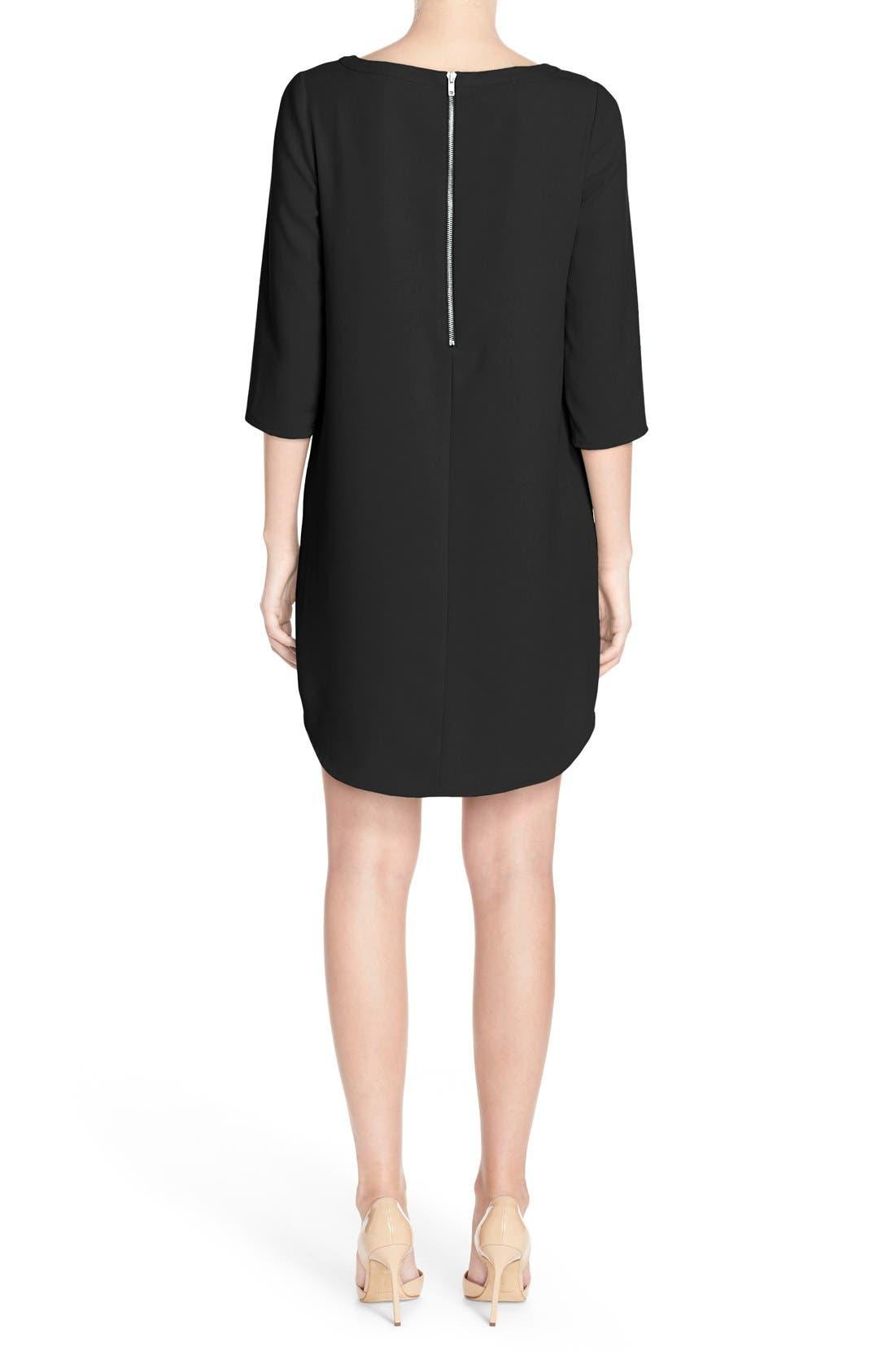 'Jazlyn' Crepe Shift Dress,                             Alternate thumbnail 3, color,                             BLACK