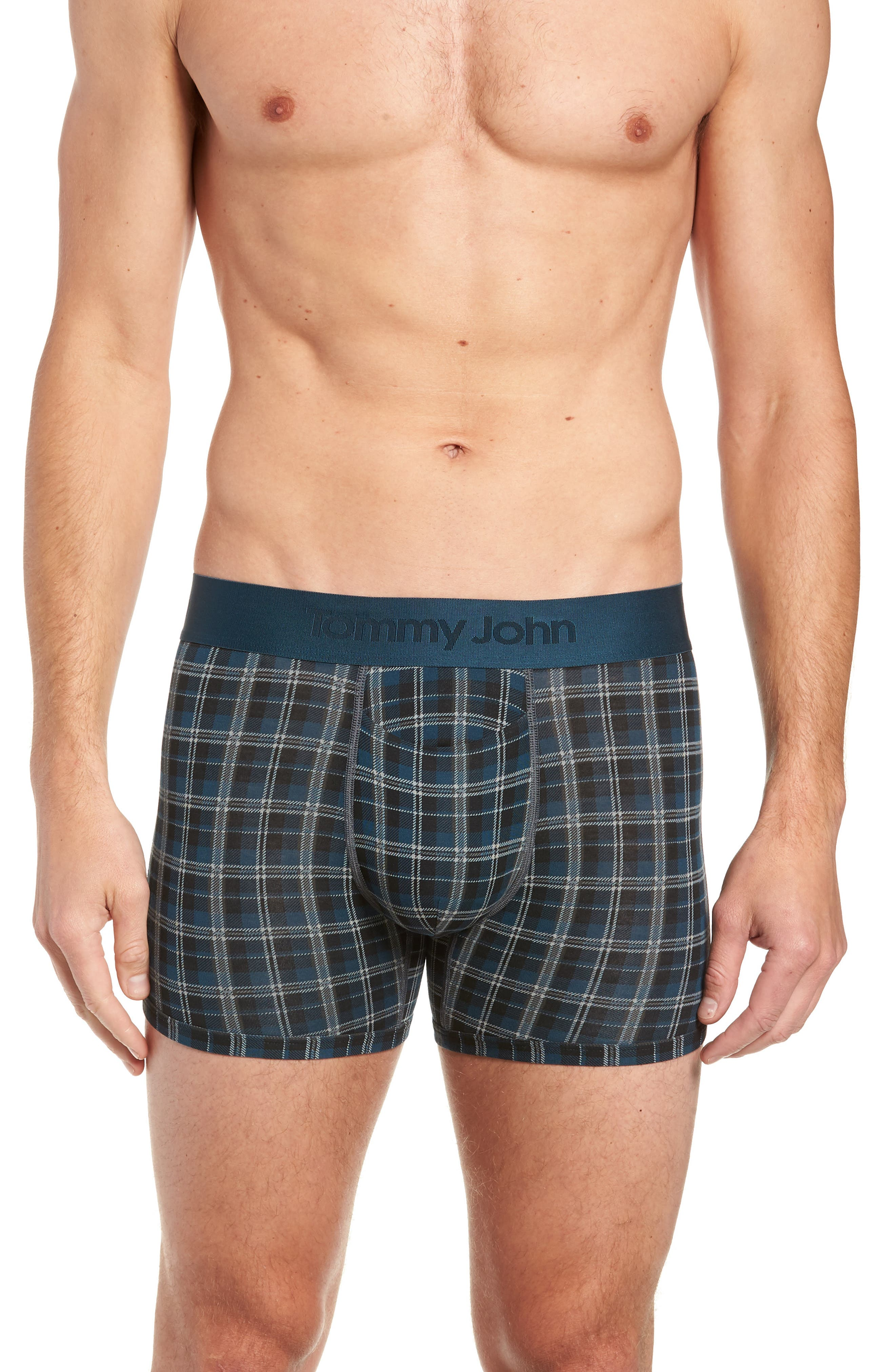 Second Skin Plaid Trunks,                         Main,                         color, REFLECTING POND