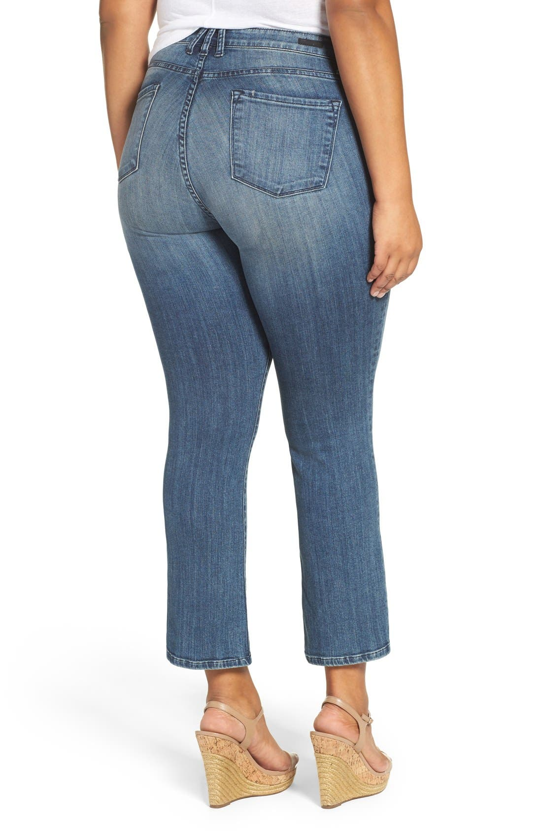 'Reese' Crop Flare Leg Jeans,                             Alternate thumbnail 3, color,                             PERFECTION