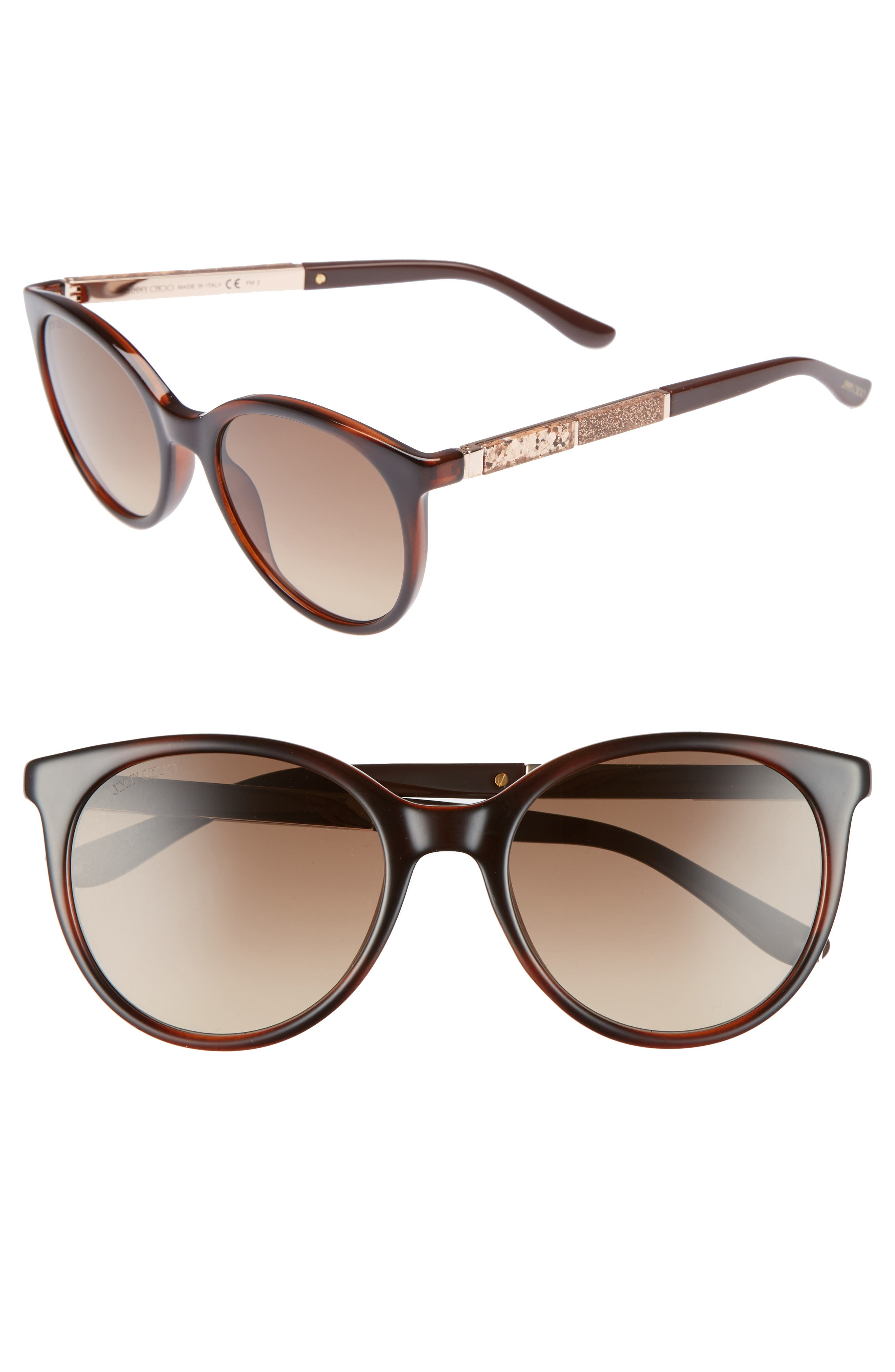 Jimmy Choo Erie 5m Gradient Round Sunglasses - Havana Brown