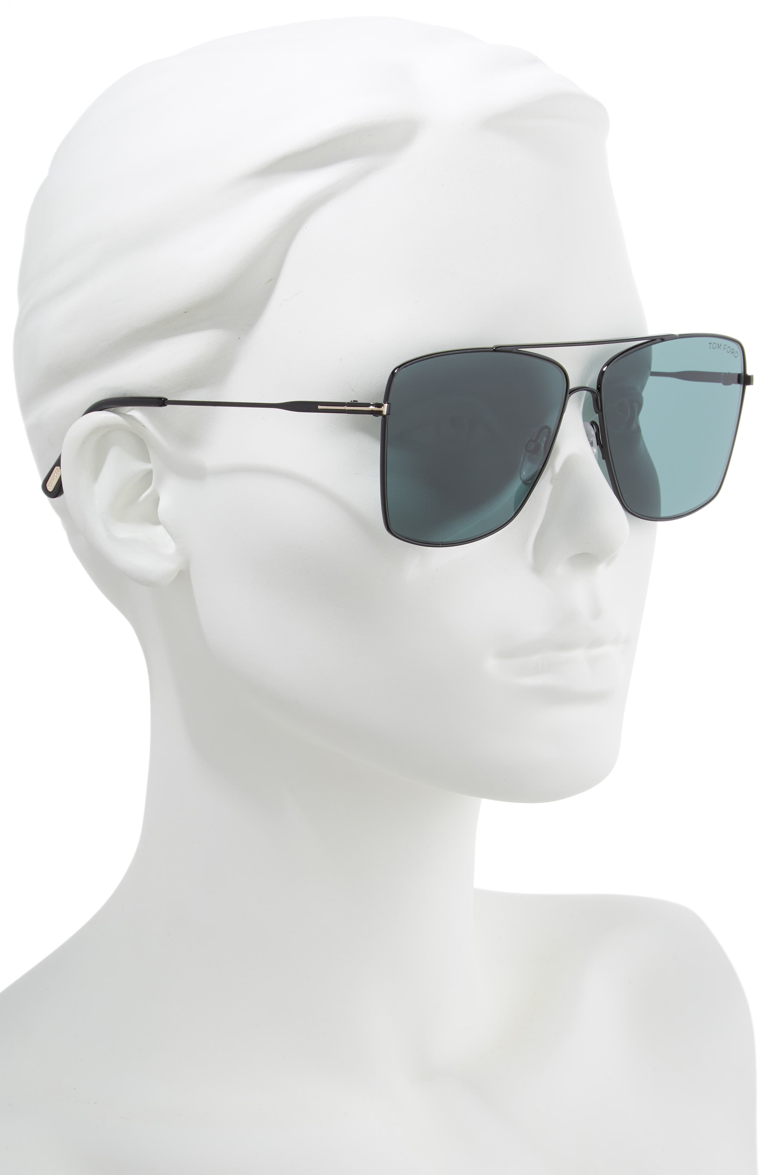Magnus 60mm Aviator Sunglasses,                             Alternate thumbnail 2, color,                             SHINY BLACK/ DARK TEAL