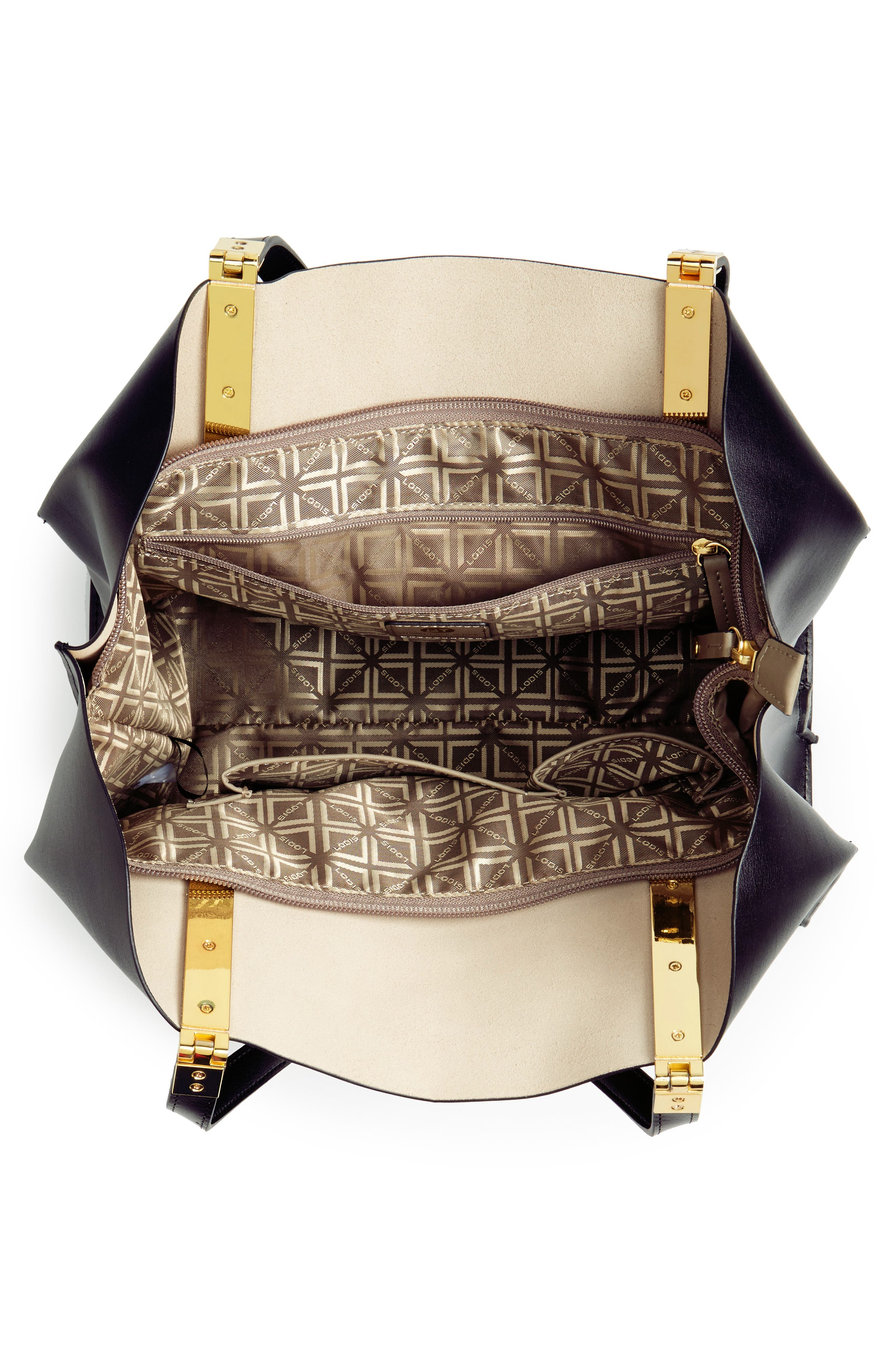 LODIS Silicon Valley Collection Under Lock & Key - Anita RFID East/West Leather Satchel,                             Alternate thumbnail 4, color,                             001