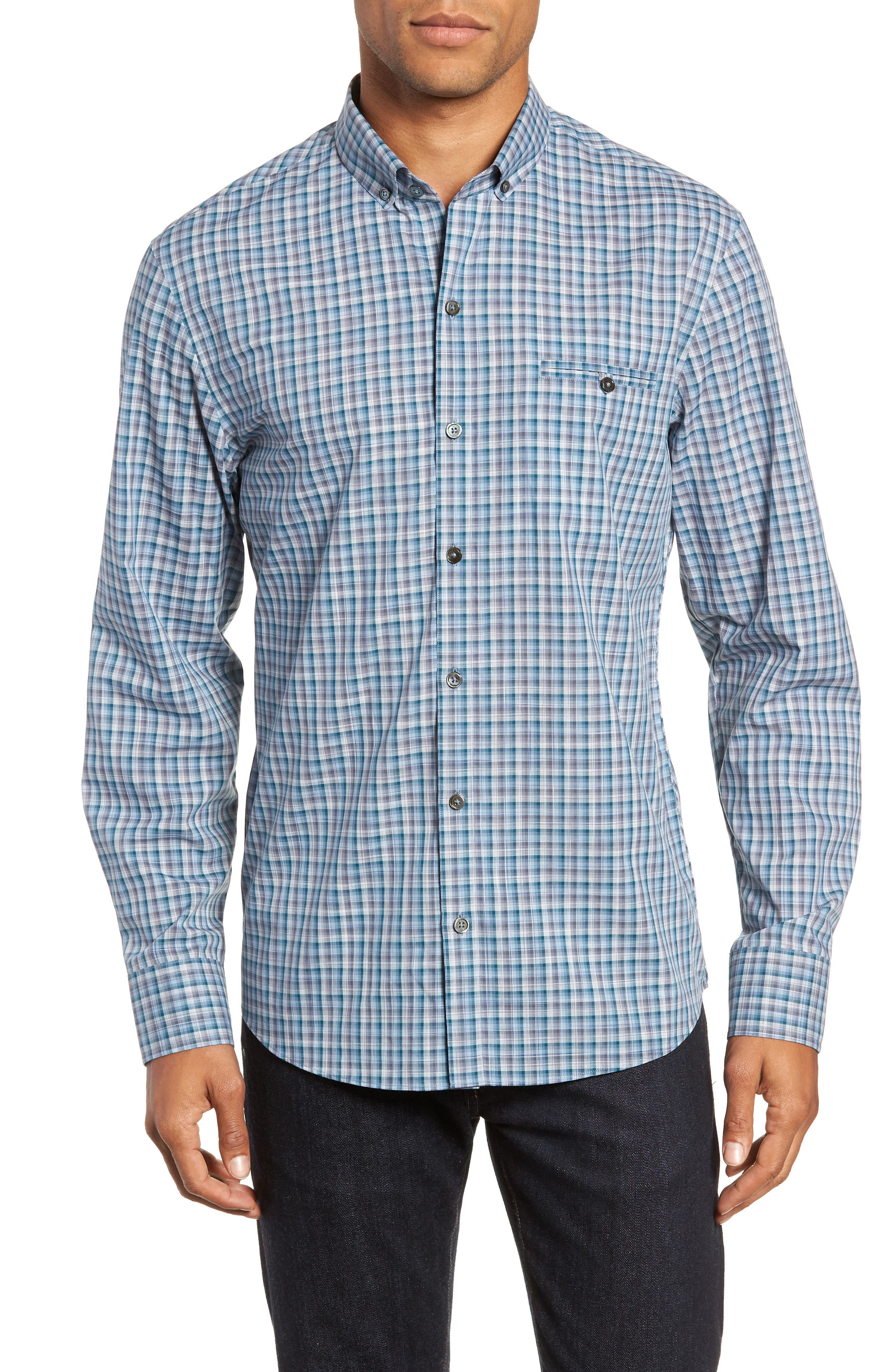 Godinez Check Sport Shirt,                         Main,                         color, DARK TEAL