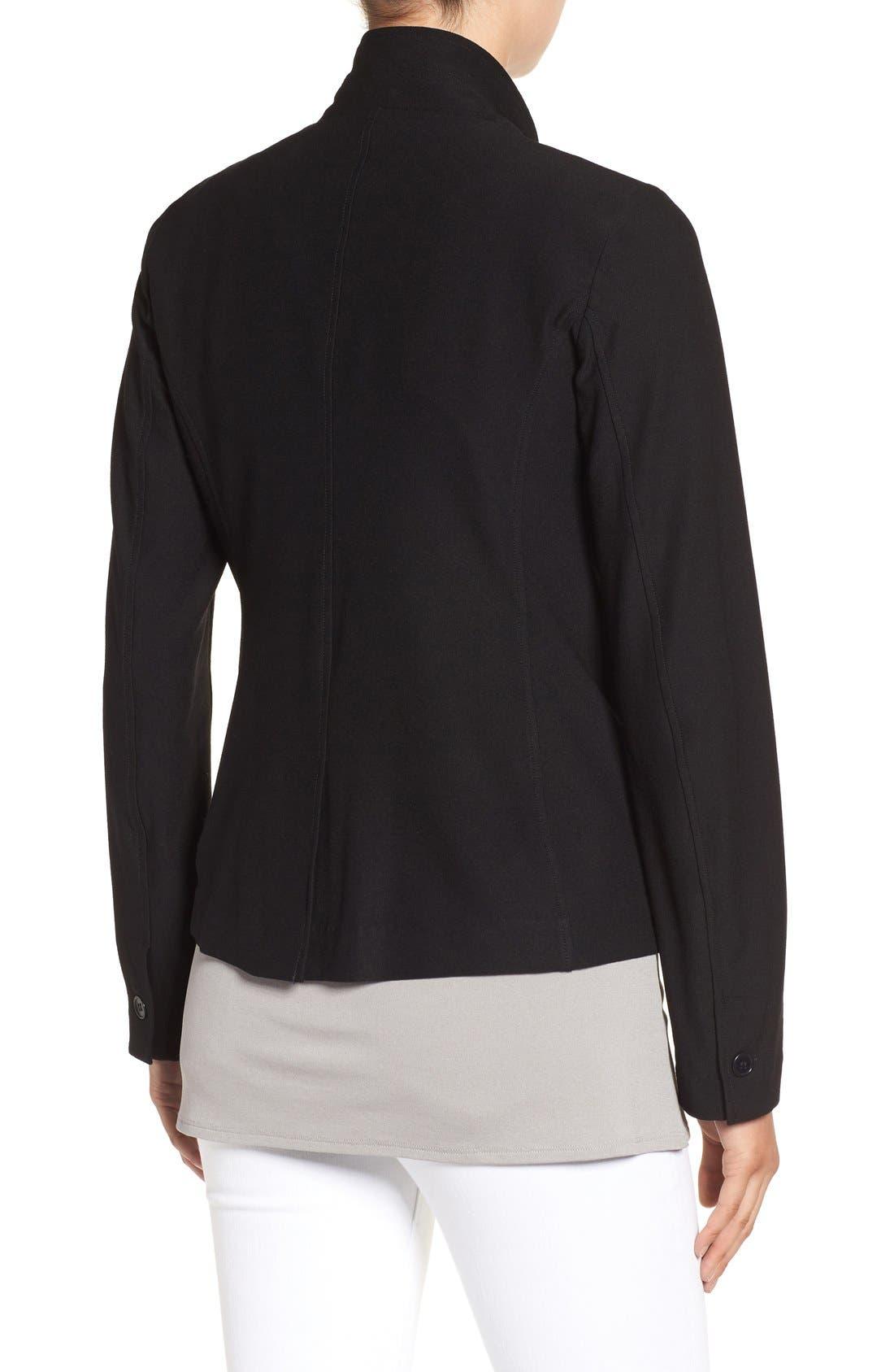 Washable Stretch Crepe Jacket,                             Alternate thumbnail 3, color,                             BLACK