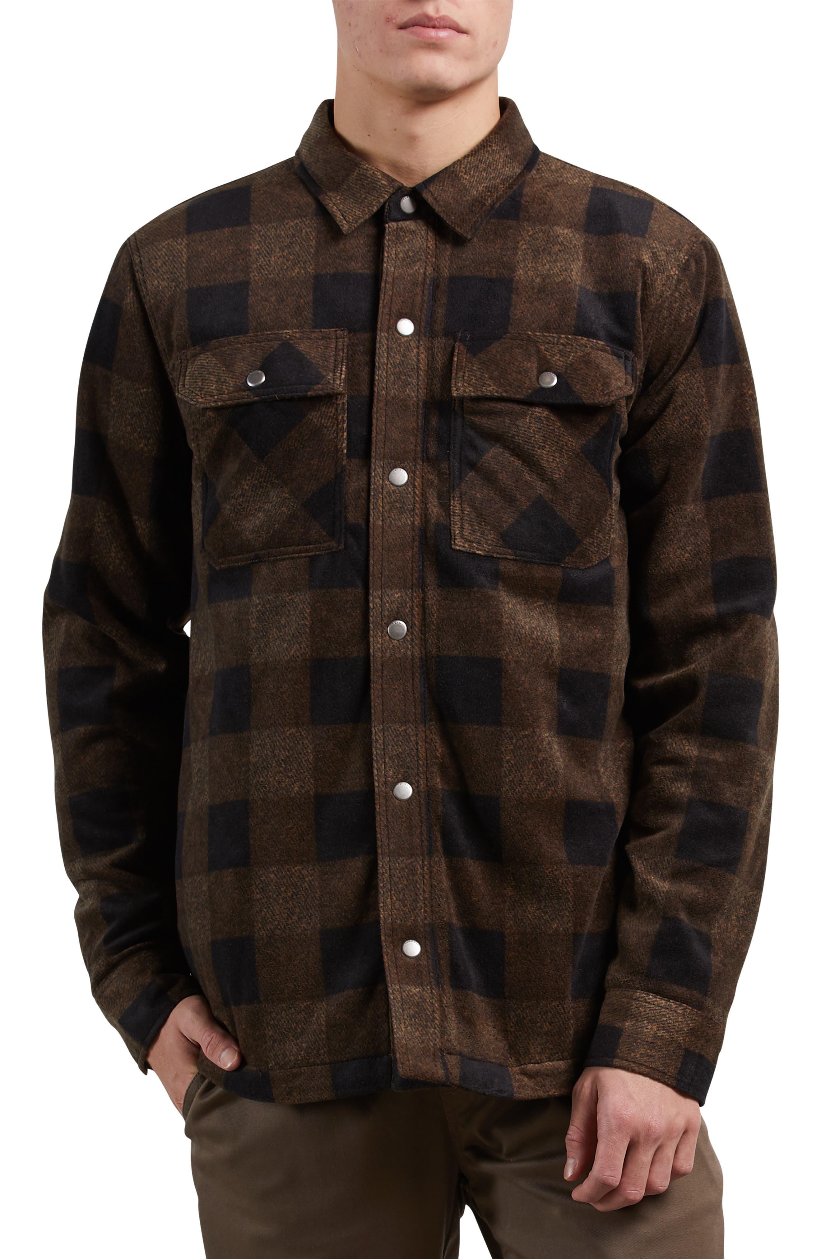 Bower Check Print Fleece Jacket,                             Alternate thumbnail 3, color,                             800