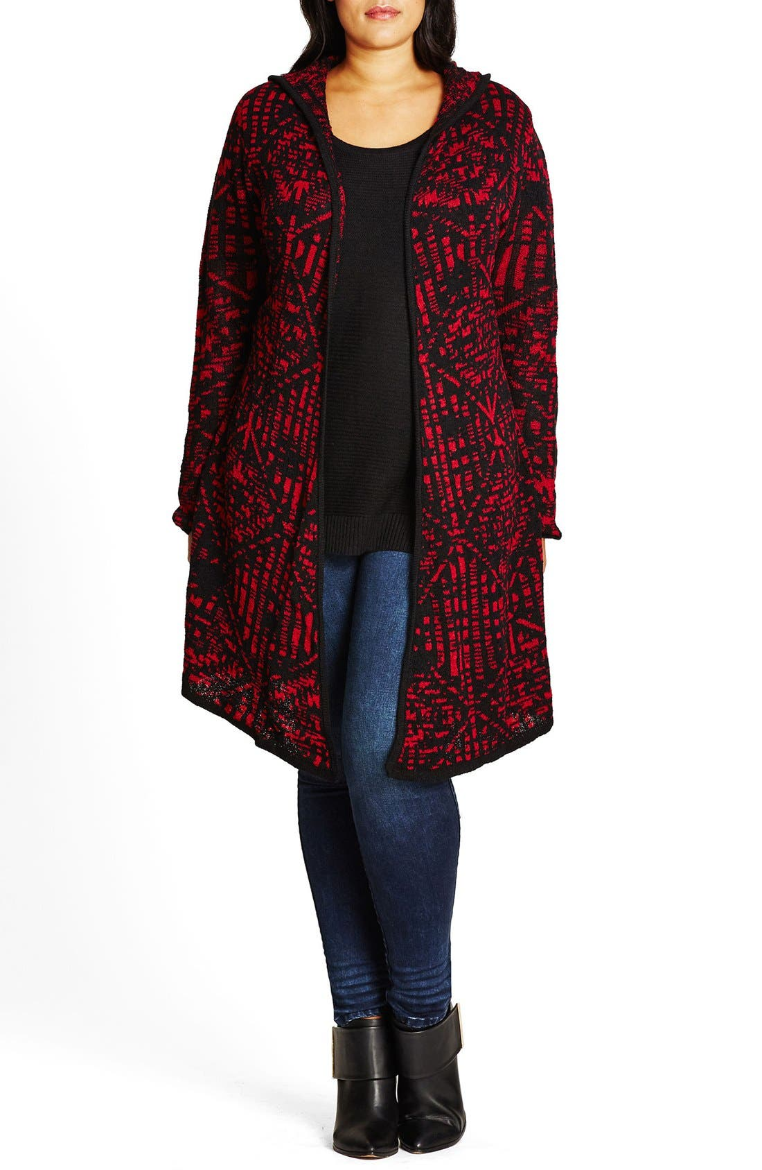 Geo Pattern Hooded Cardigan,                             Main thumbnail 3, color,