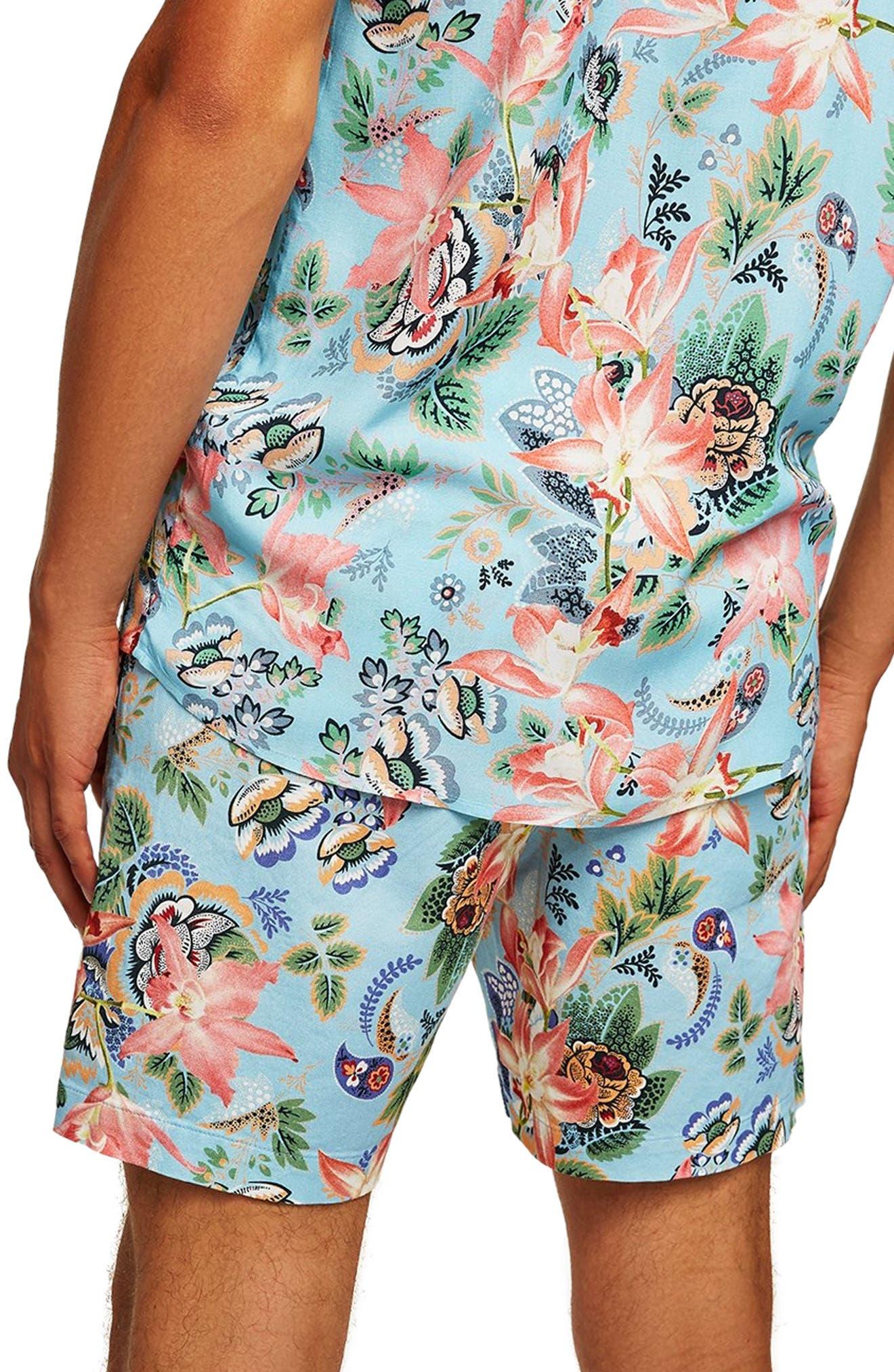 Slim Fit Orchid Print Shorts,                             Alternate thumbnail 2, color,                             400