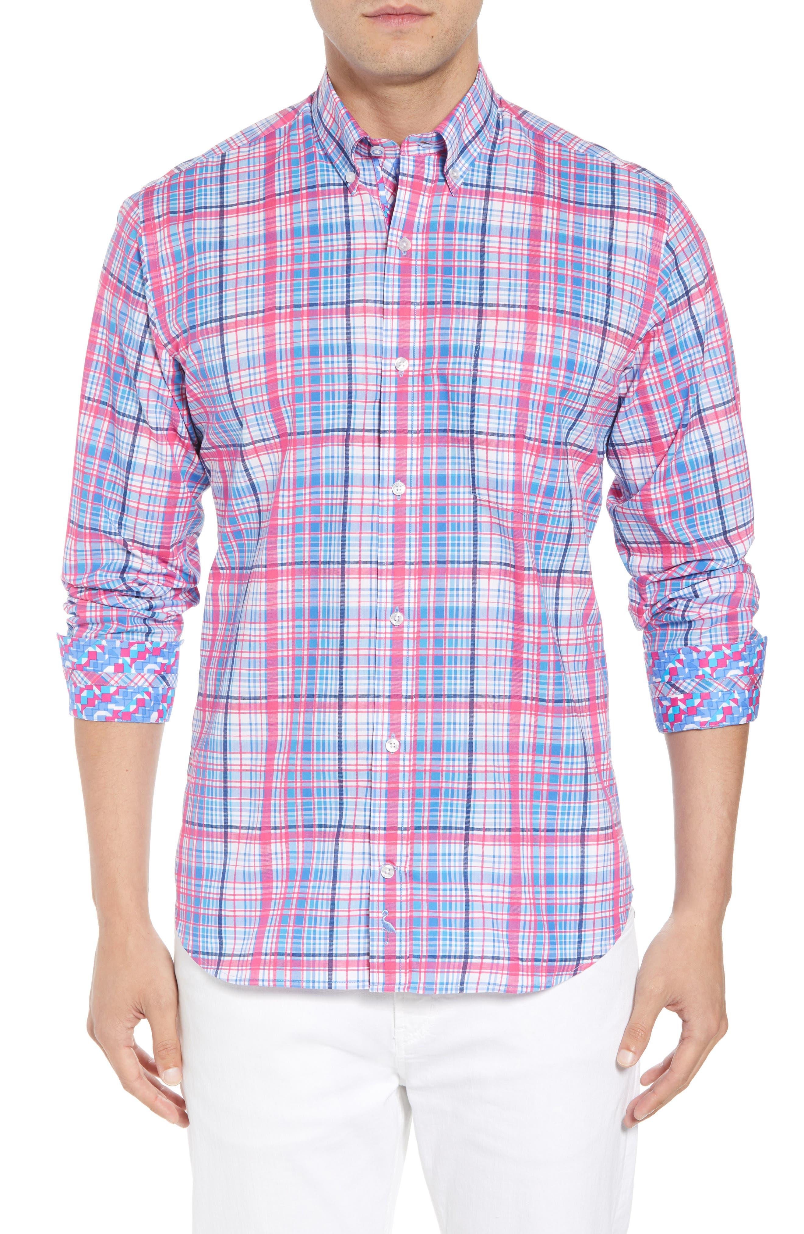 Beacon Regular Fit Plaid Sport Shirt,                             Main thumbnail 1, color,                             650